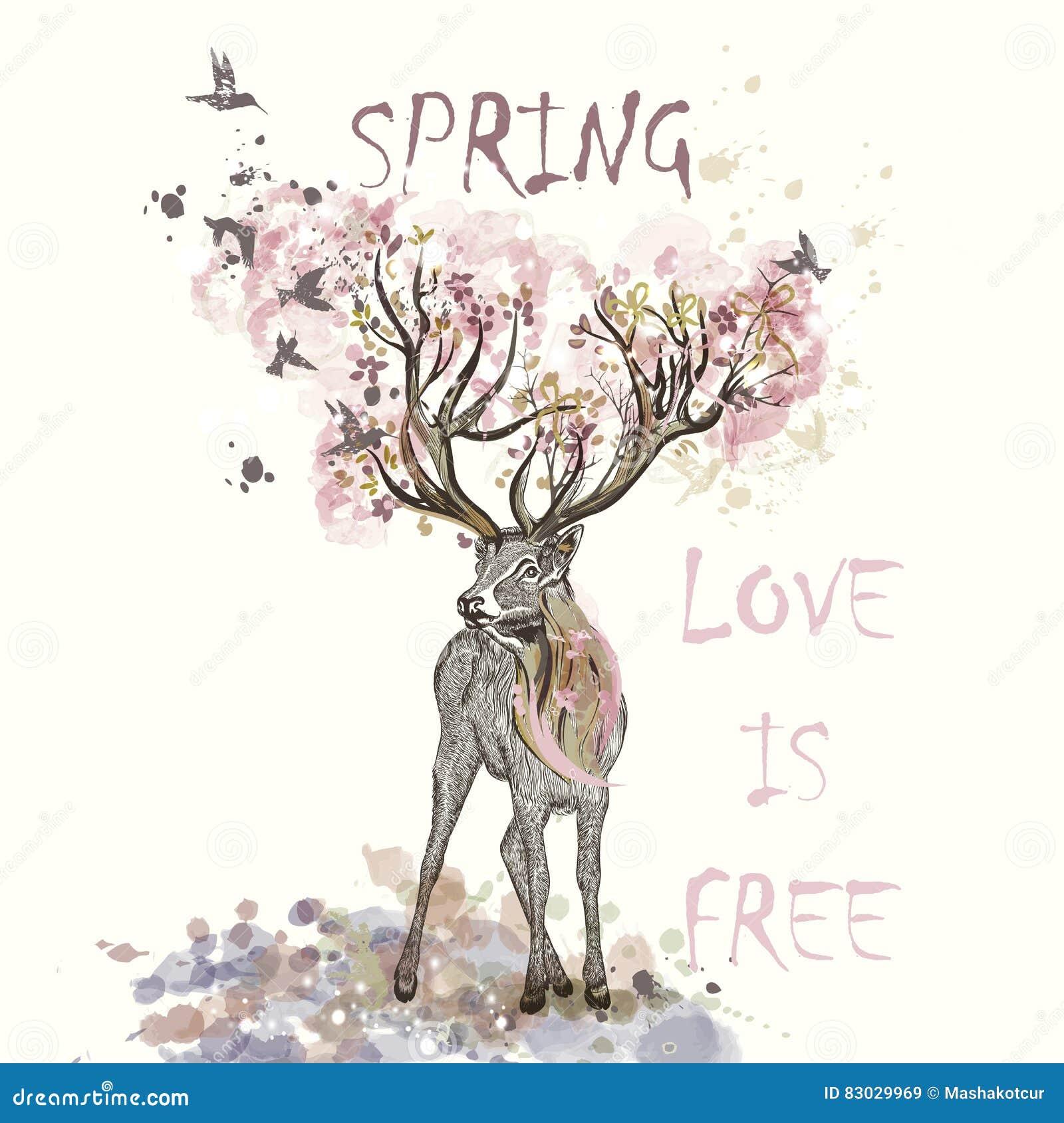 Illustration med hand drog hjortar, blommor i den horn och kli
