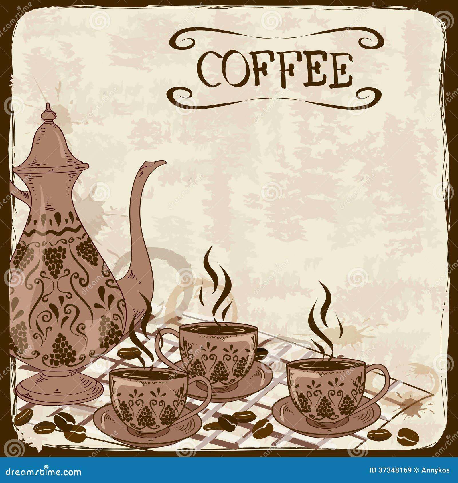 Illustration med kaffekrukan och koppar