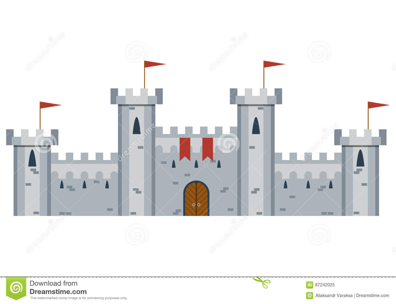 Illustration Of Medieval Castle Stock Vector - Illustration of ...