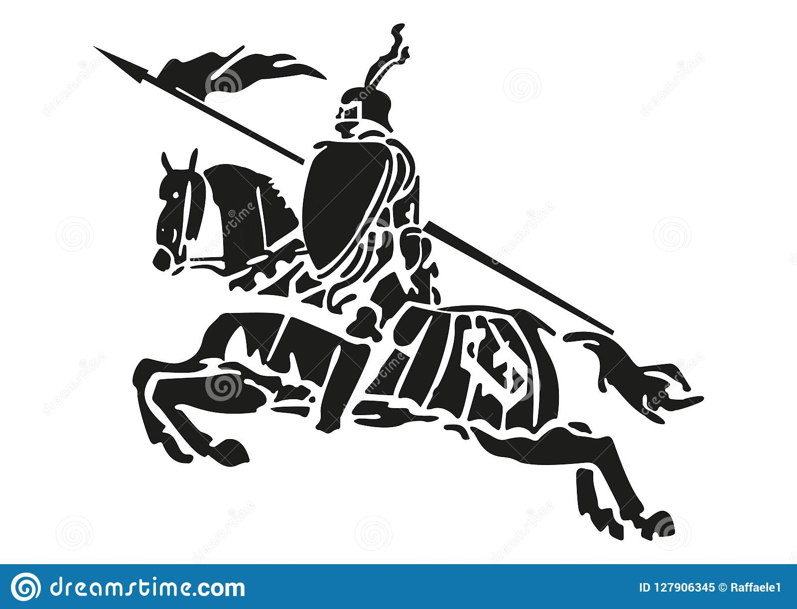 Illustration Of A Medieval Knight With Armor On A Horse Stock Vector Illustration Of Medieval Horse 127906345