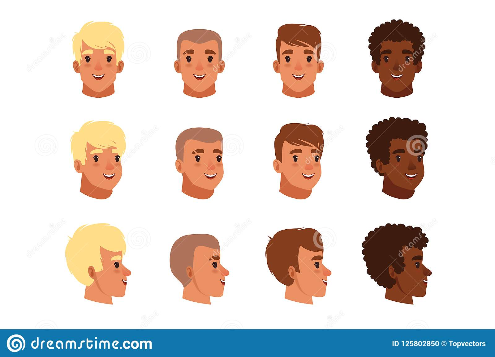 Illustration Of Men Head Avatars Set With Different Haircuts