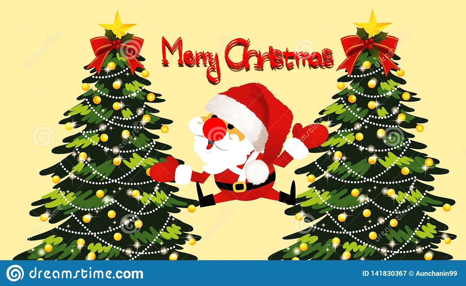 Illustration Of Merry Christmas Greeting Card Wallpaper