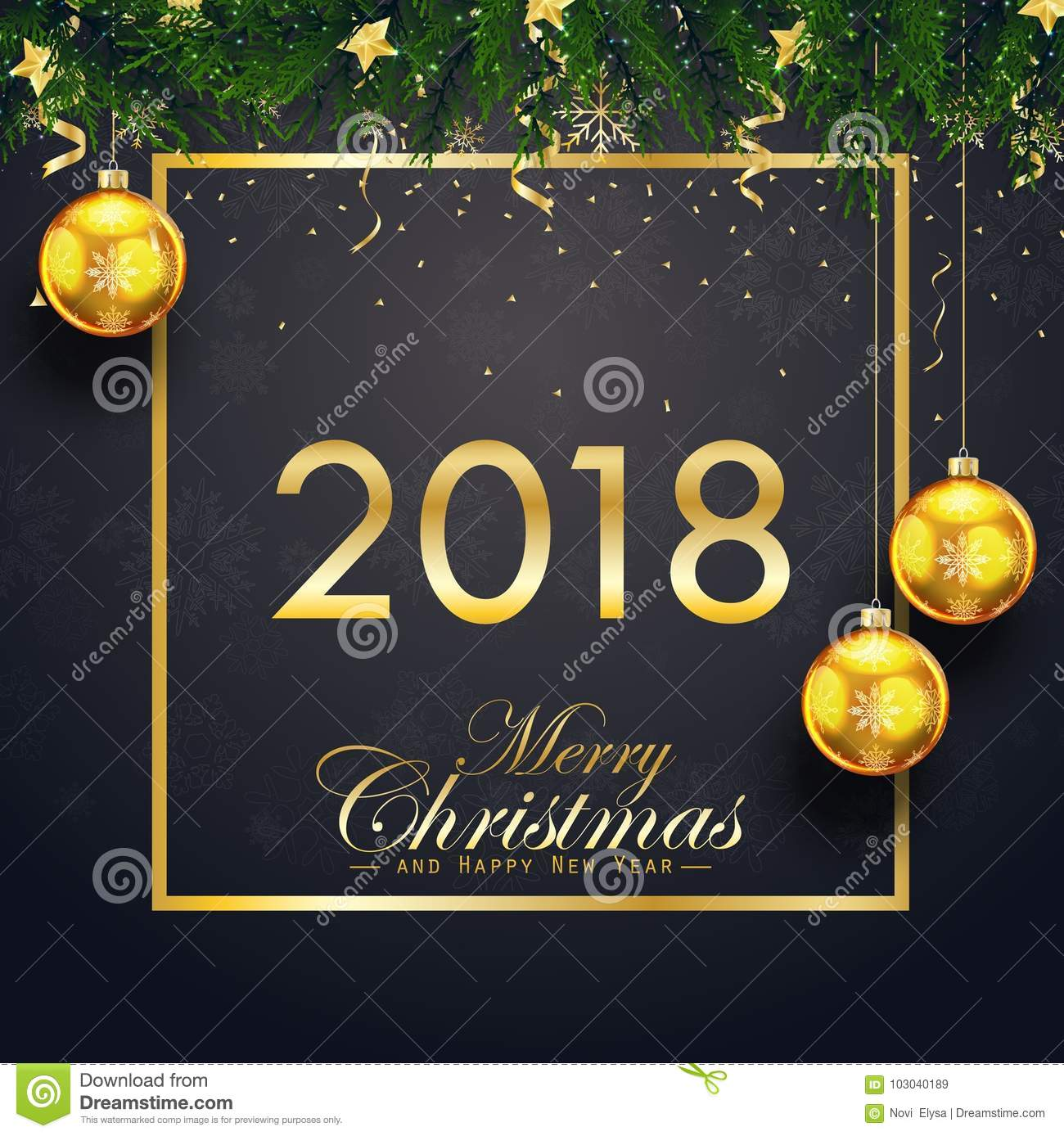 merry christmas and happy new year 2018 card with fir branches and gold christmas balls on