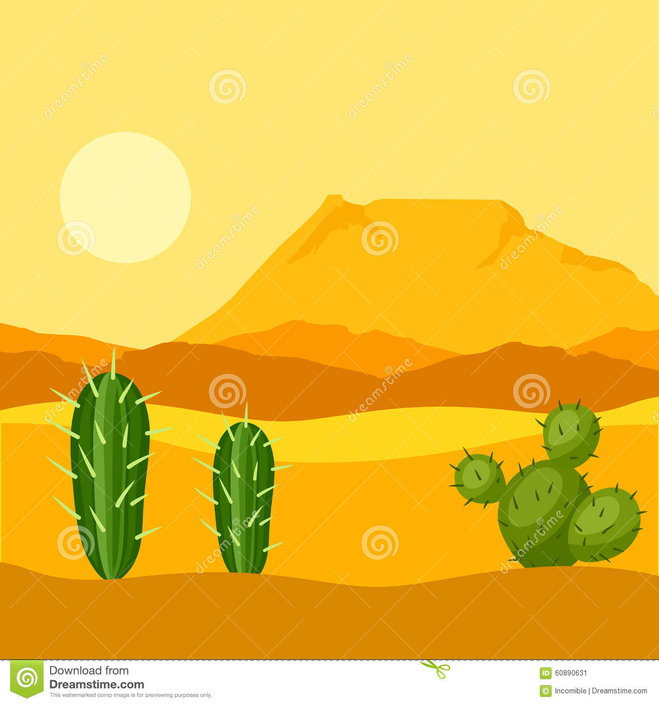 Illustration of mexican desert with cactuses and