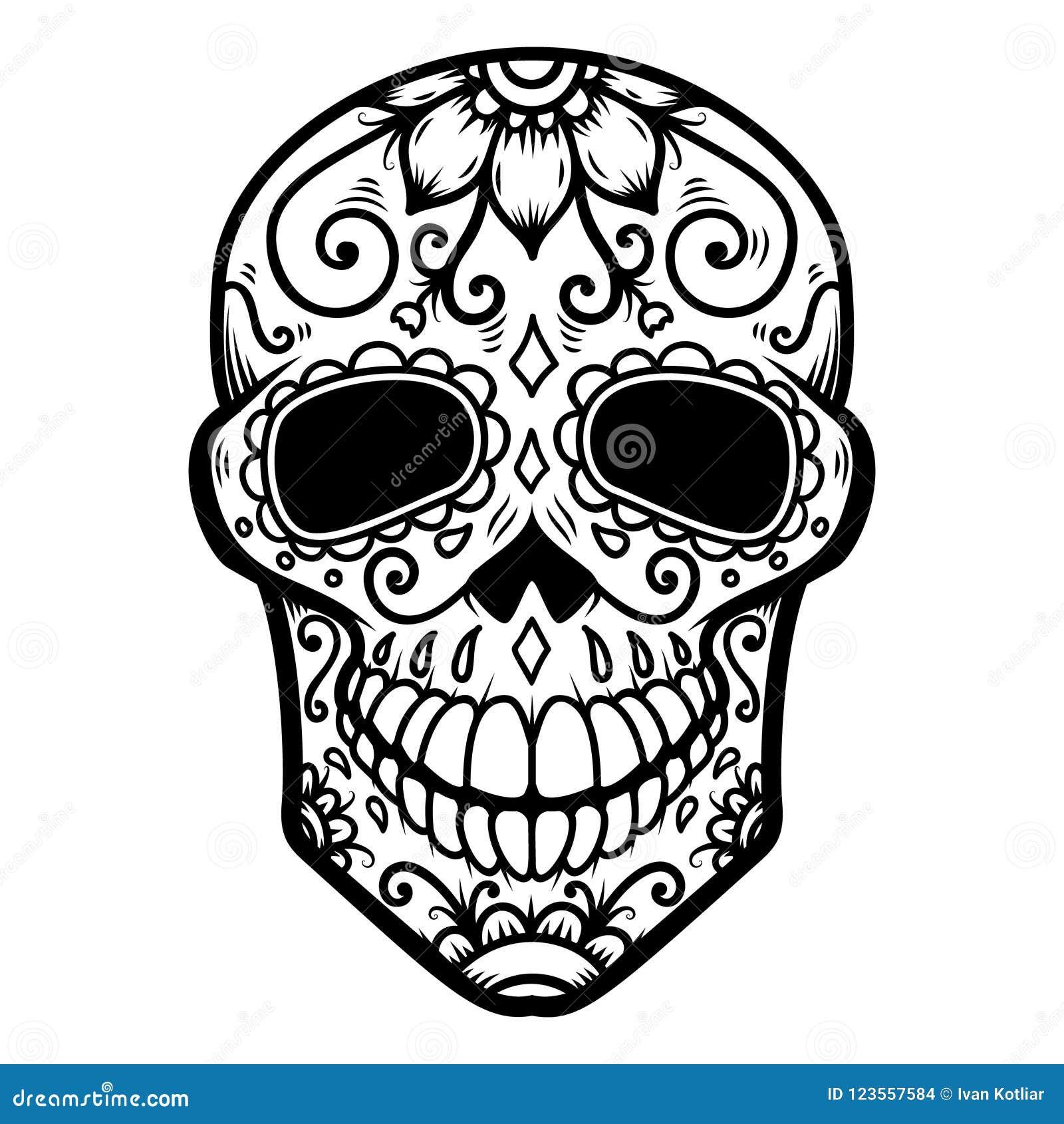 illustration of mexican sugar skull day of the dead dia de los
