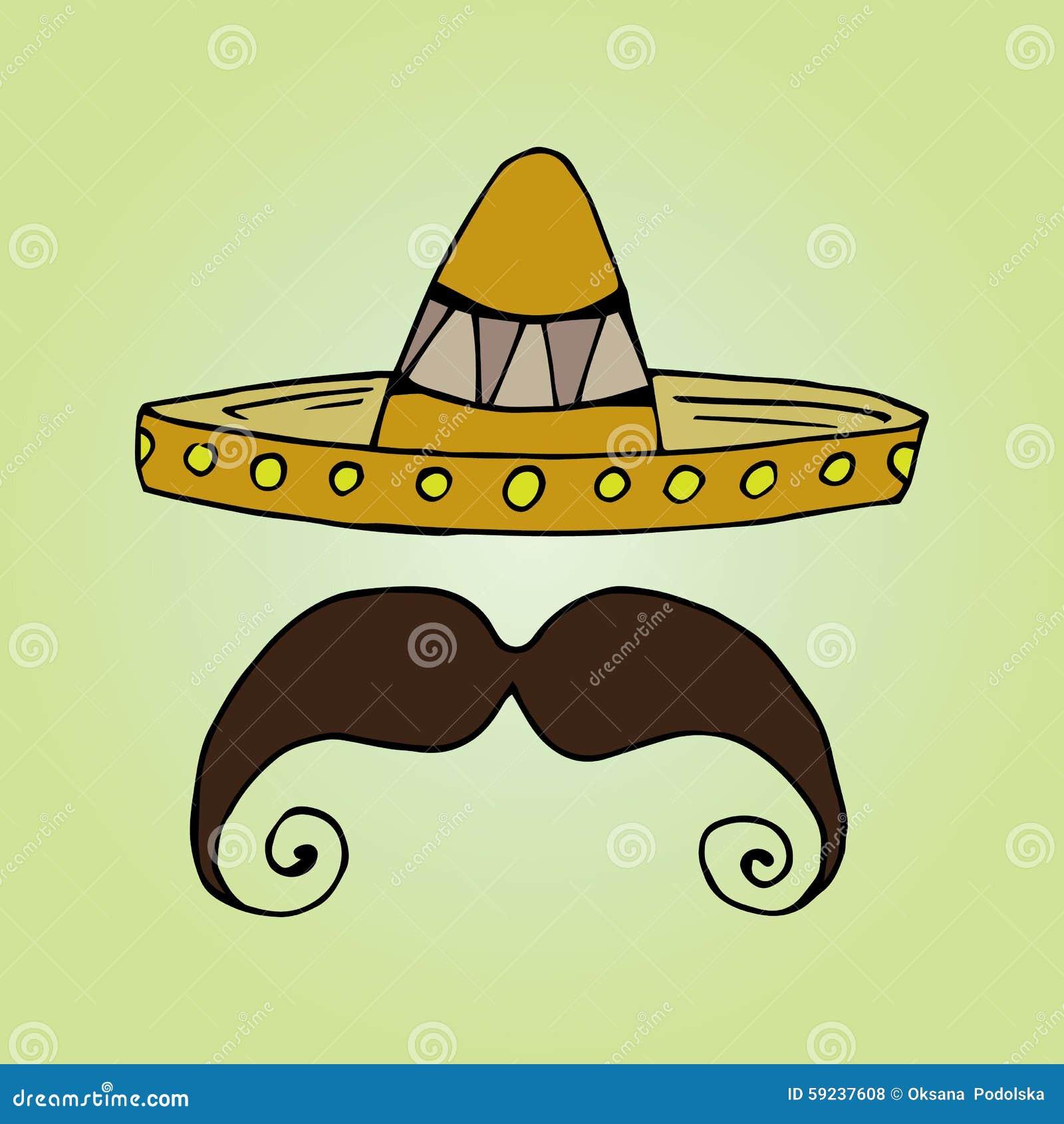 Illustration Of Mexico. Hat Sombrero. Mens Mustache. Stock ...