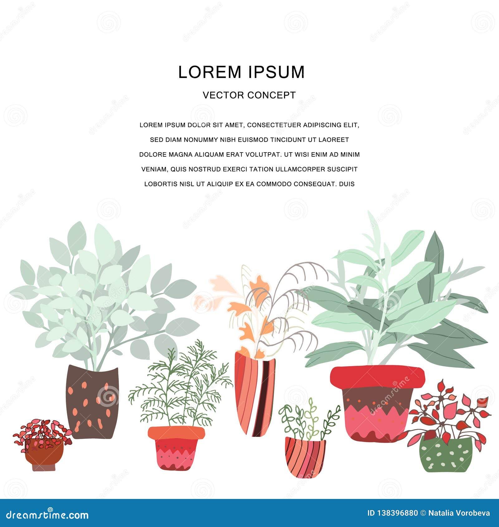 Illustration mignonne de plante d intérieur