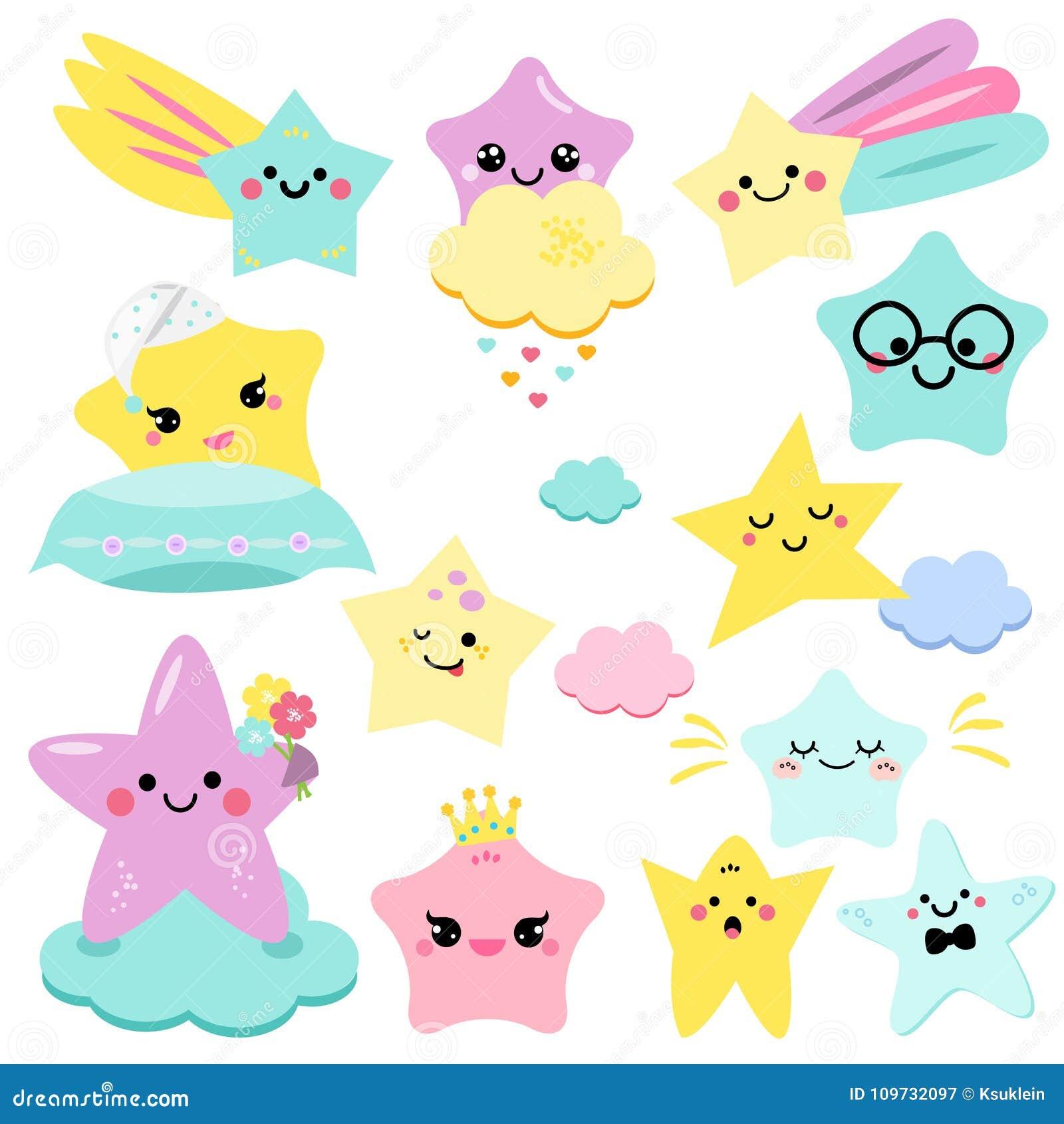 Illustration mignonne de vecteur d étoiles pour des enfants enfants d isolement de conception étoiles de fête de naissance, éléme