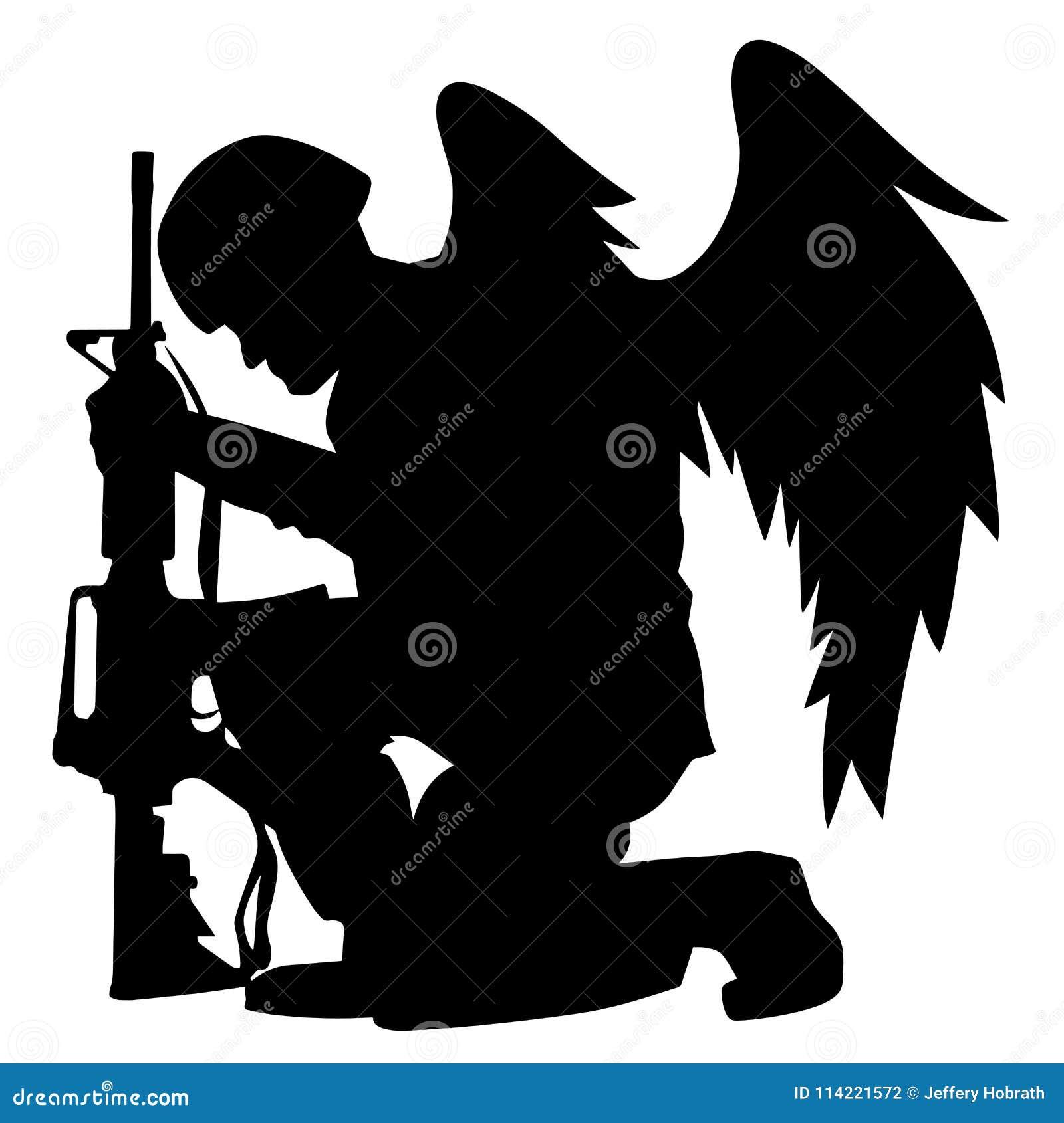Illustration militaire de vecteur de silhouette d Angel Soldier With Wings Kneeling