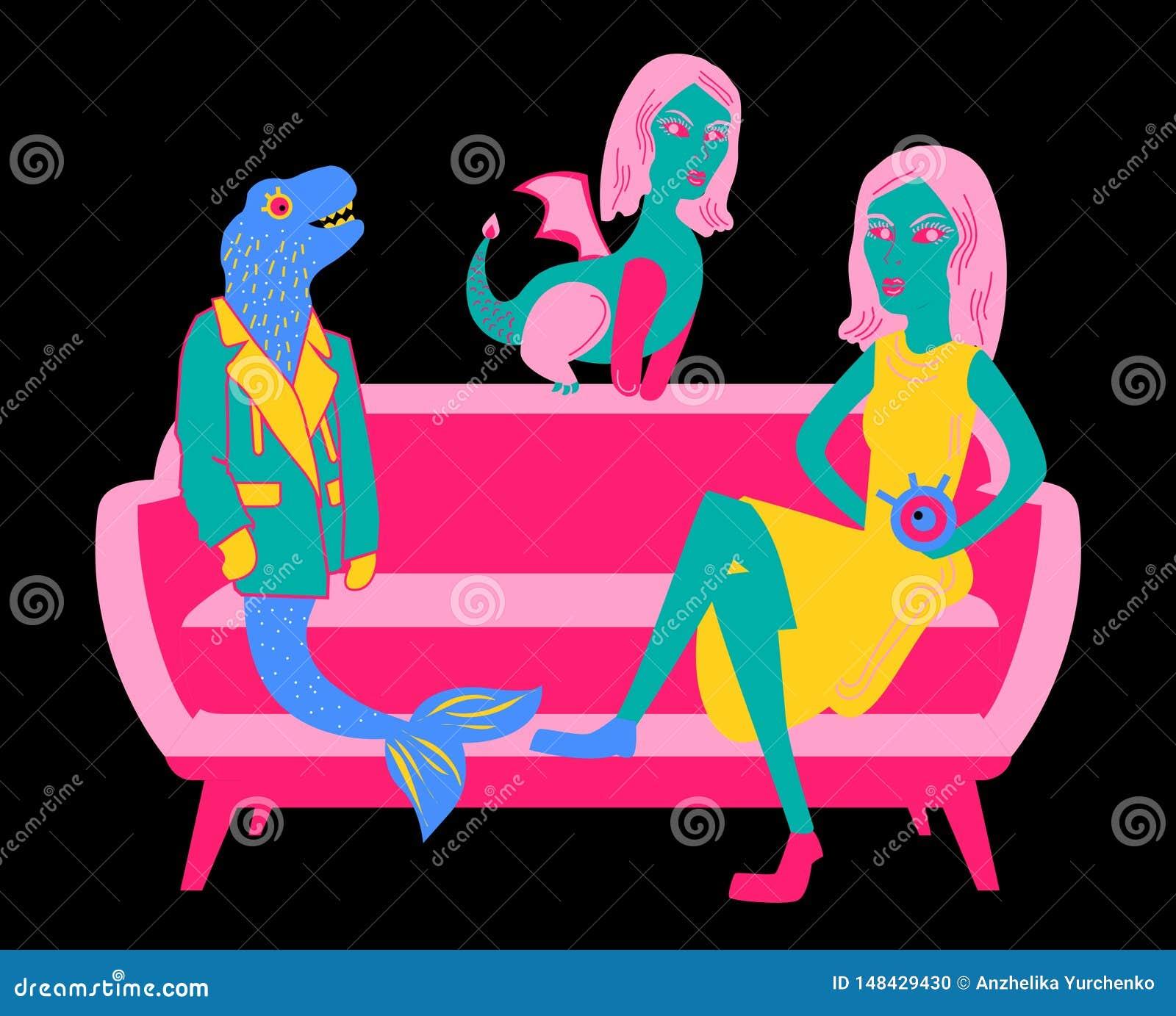 Illustration mit einem Rosa und hochrotes rotes Sofa mit einem Dinosaurier in einem blaugrünen Endstück der Jacke und einer Meerj