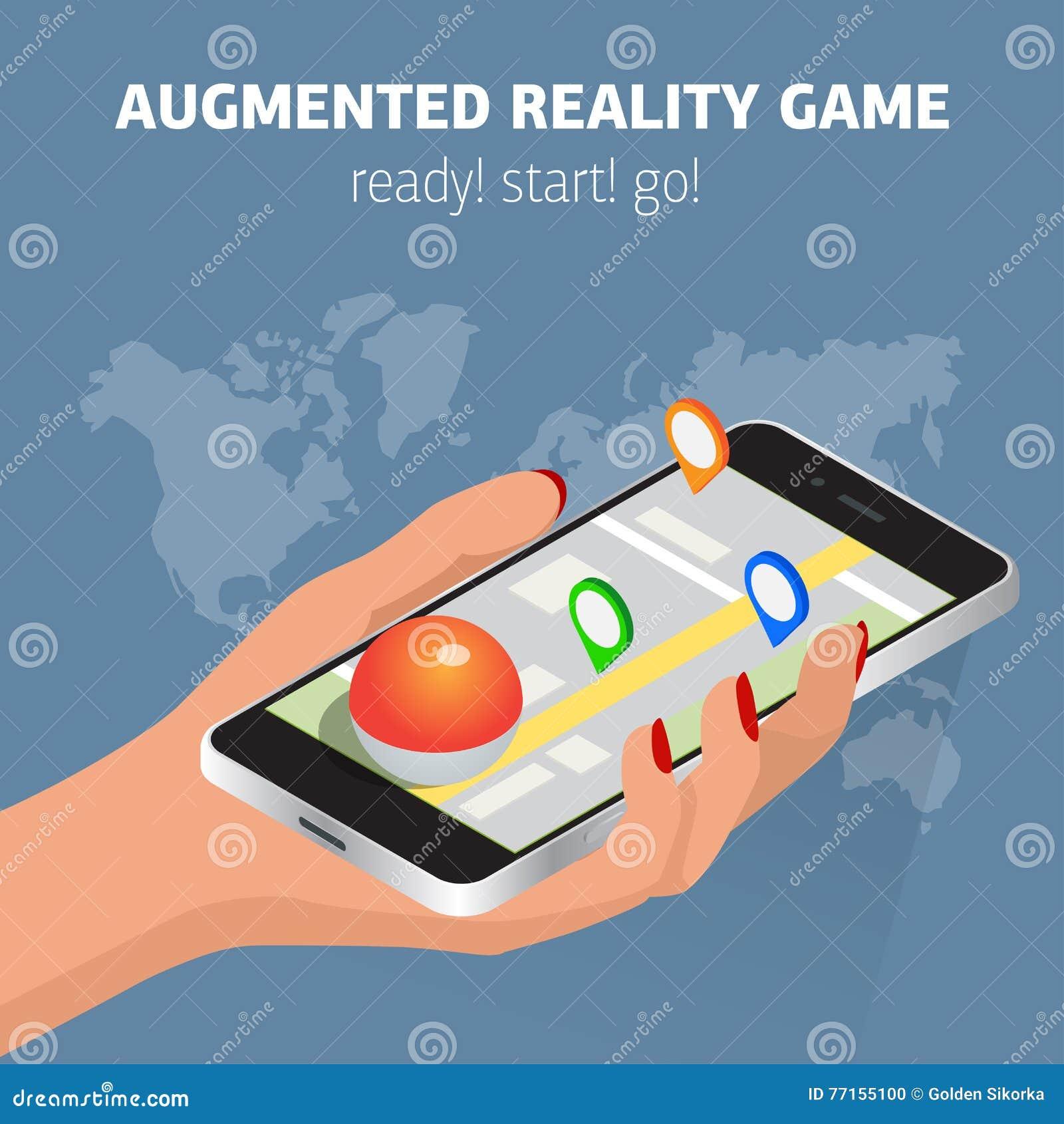 Illustration mobile isométrique plate de crochet de jeu Smartphone humain de prise de main Concept isometry virtuel du jeu 3d de