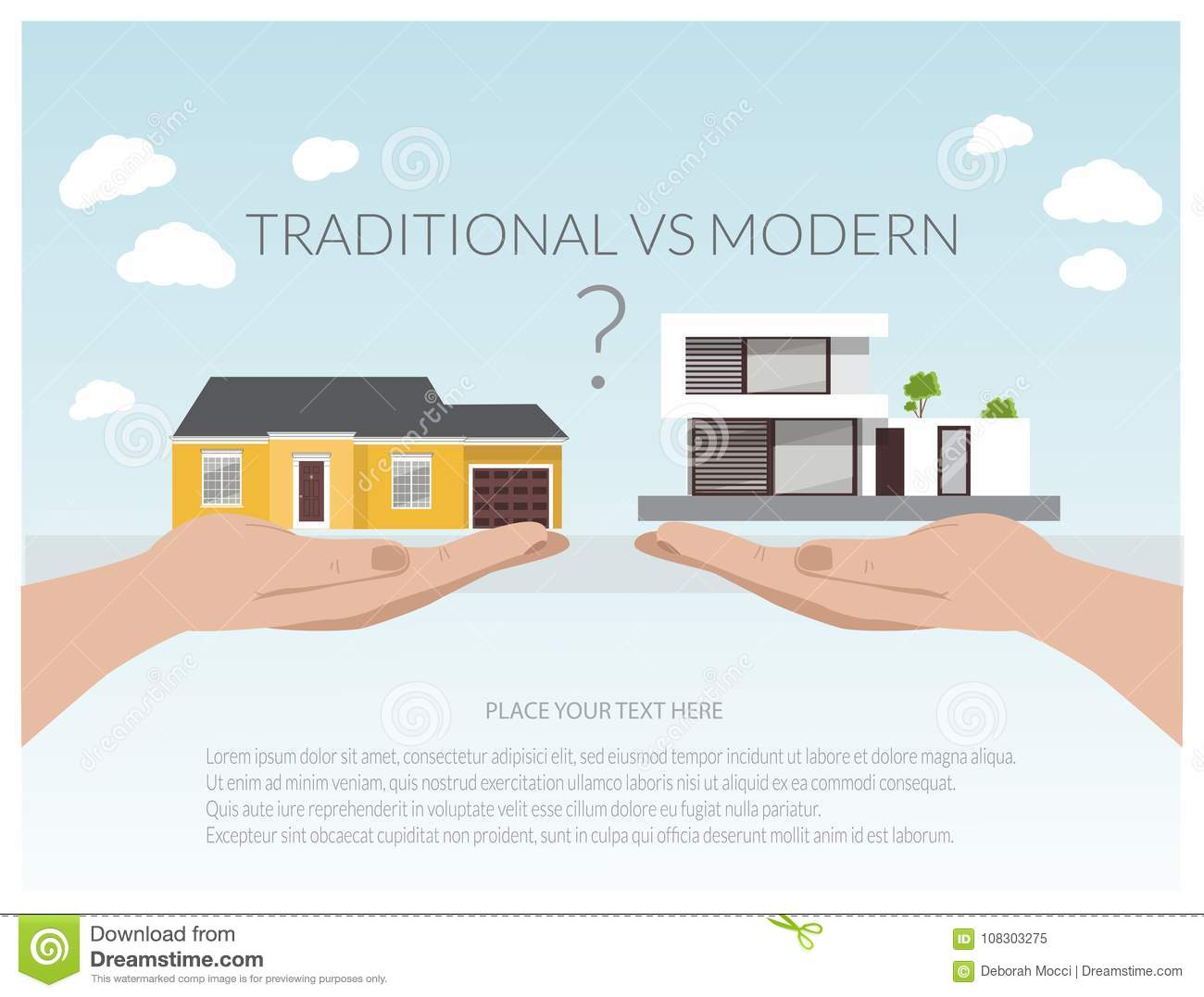 Illustration Of Modern Houses House Project Real Estate Concept