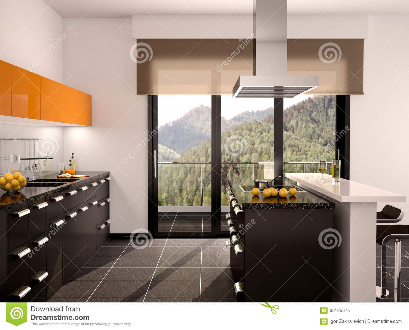Illustration Of Modern Black And Orange Kitchen Interior
