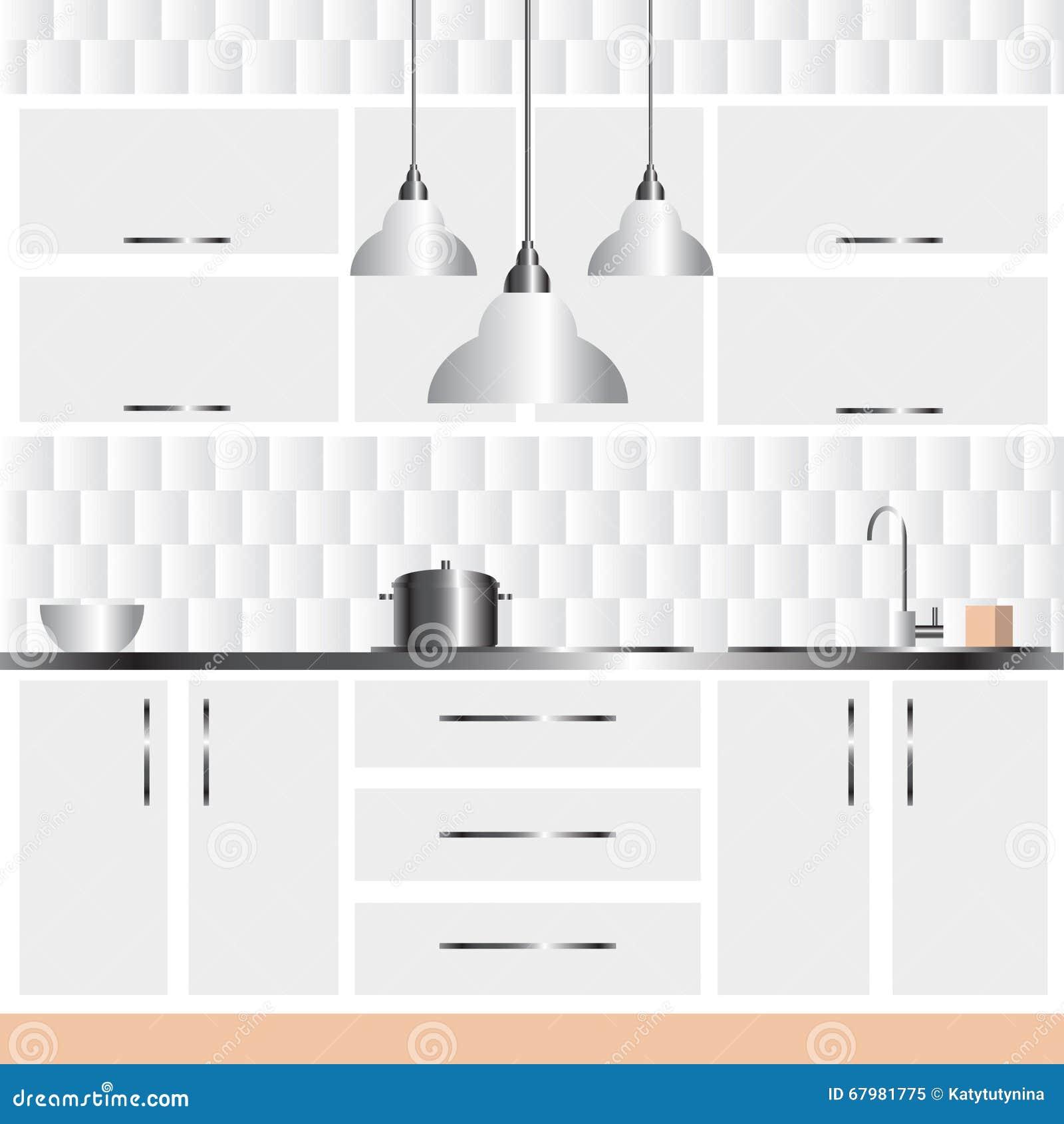 Illustration Of Modern Kitchen Interior Design Stock Vector Illustration Of Gradient