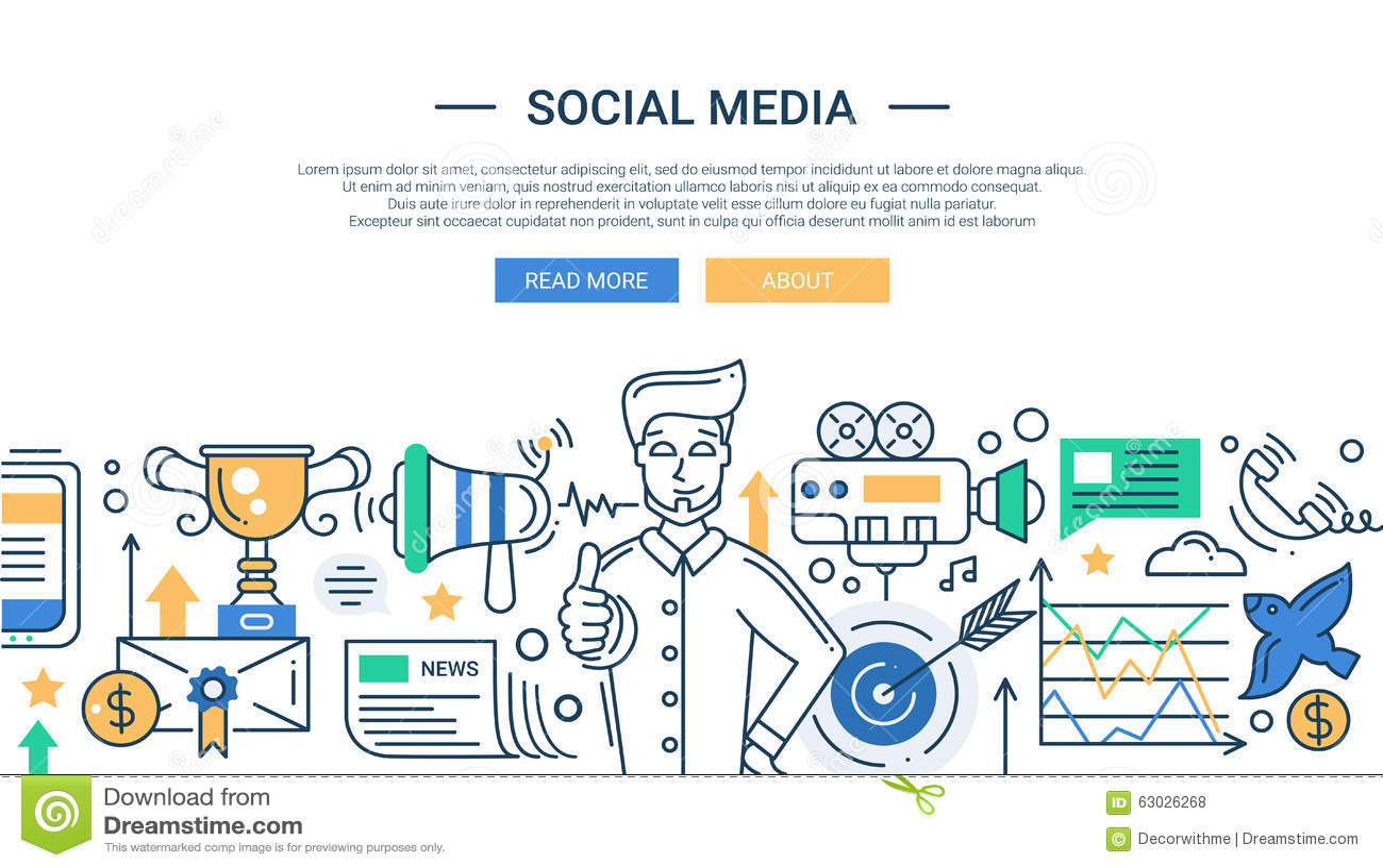 Illustration Of Modern Social Media Promotion Line Stock Vector