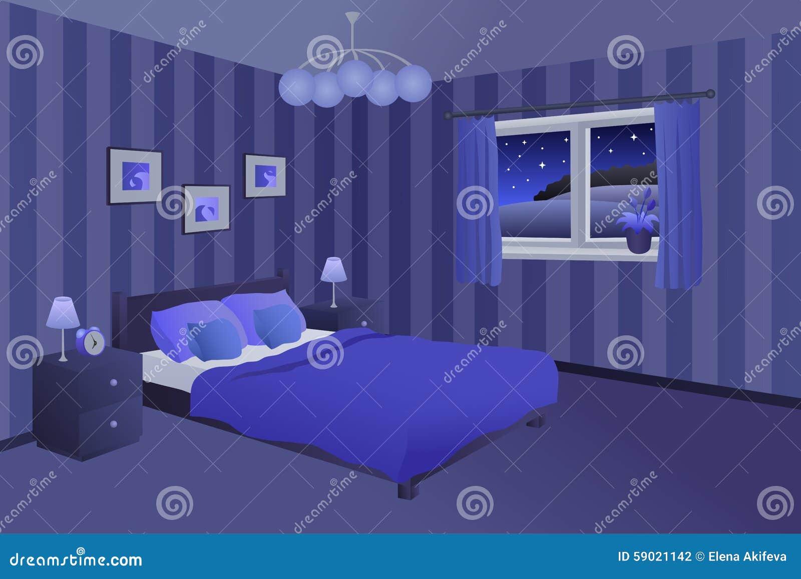 Illustration moderne de fen tre de lampes d 39 oreillers de - Chambre bleu nuit ...