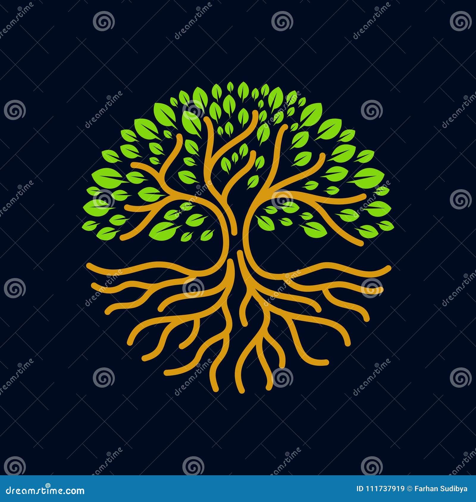 Illustration moderne de vecteur d insigne de logo de cercle de racines d arbre