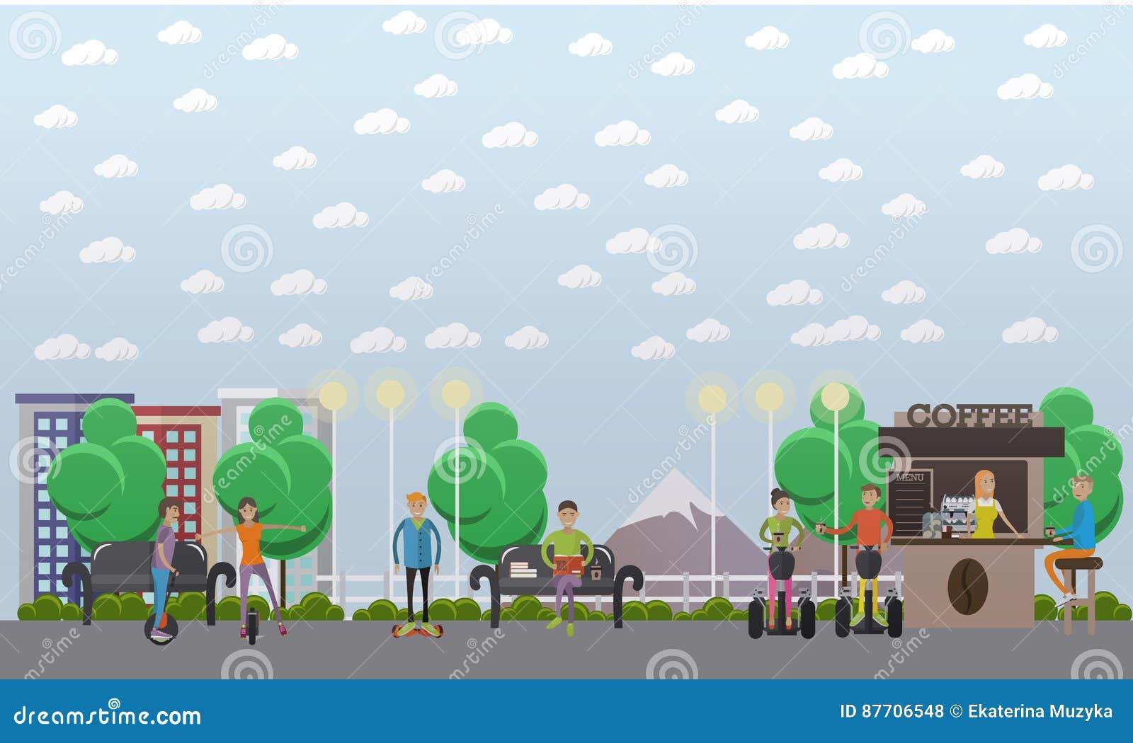 Illustration moderne de vecteur de concept de parc dans le style plat