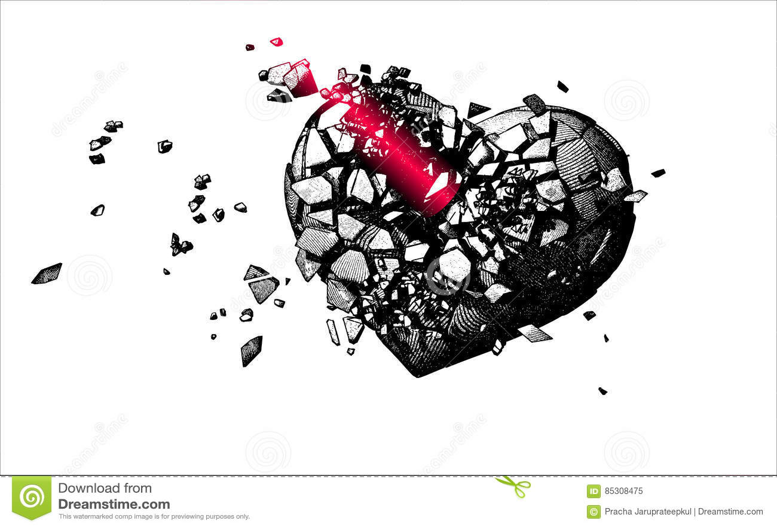 Illustration Monochrome Du Coeur Brisé De Gravure Illustration De