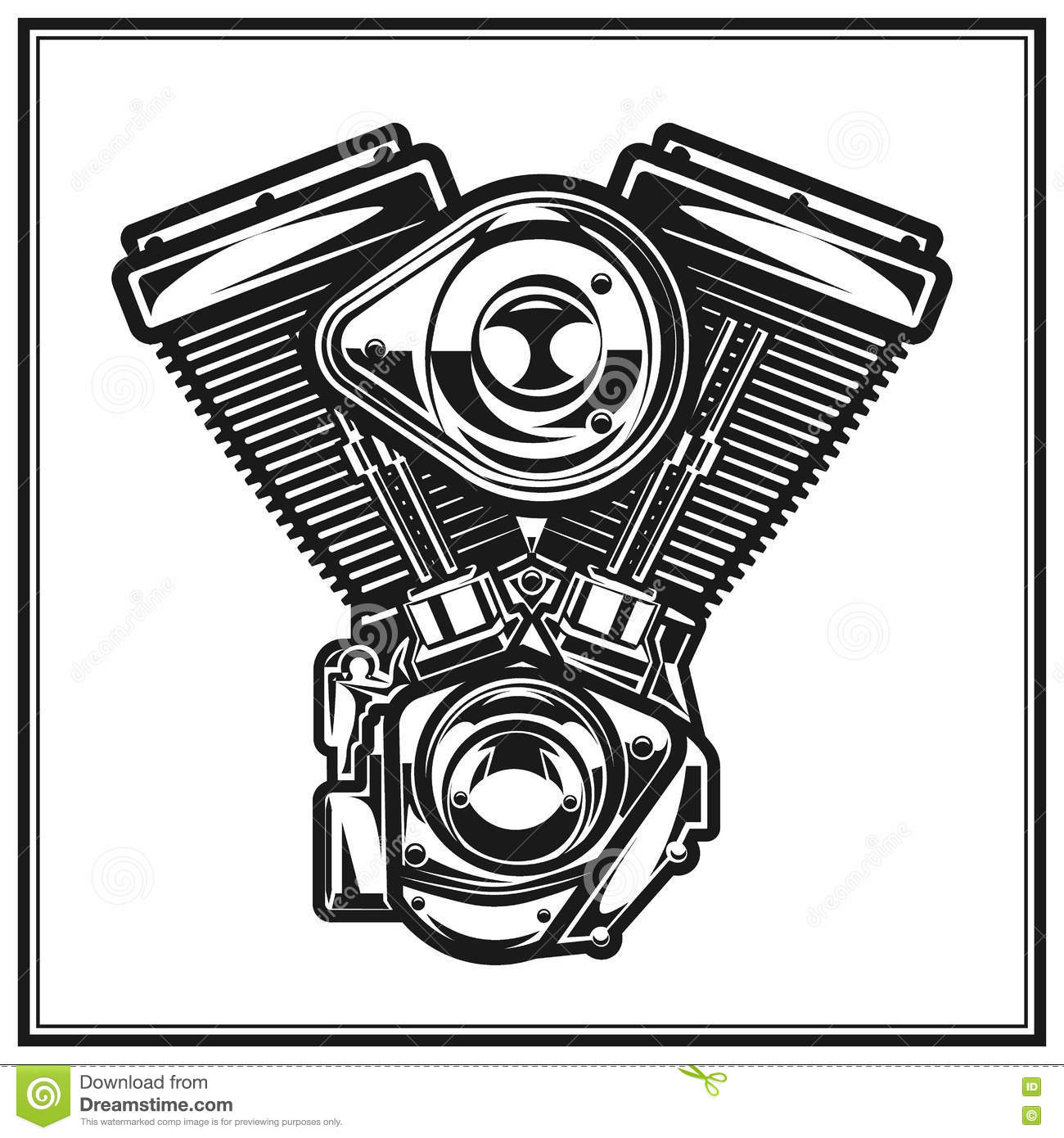 Illustration Of Motorcycle Engine. Stock Vector ...