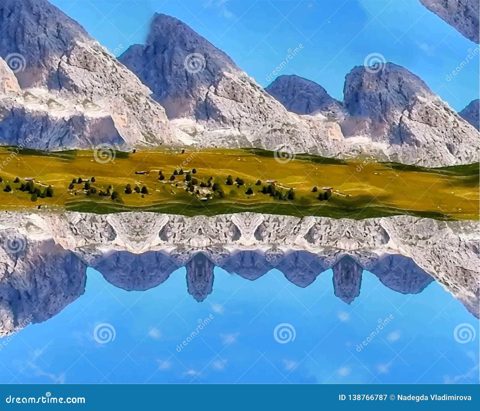 Illustration of mountains, earth, sky, liquid abstraction, liquid mountains abstraction, liquid sky abstraction.