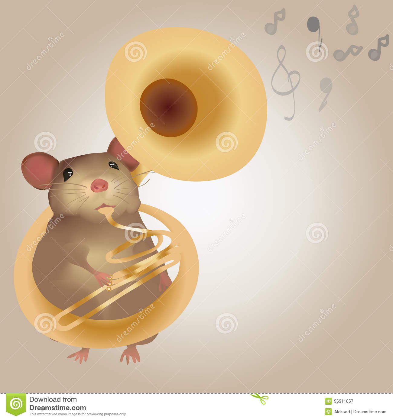 Illustration Of A Mouse Playing On Tuba Royalty Free Stock Photography ...