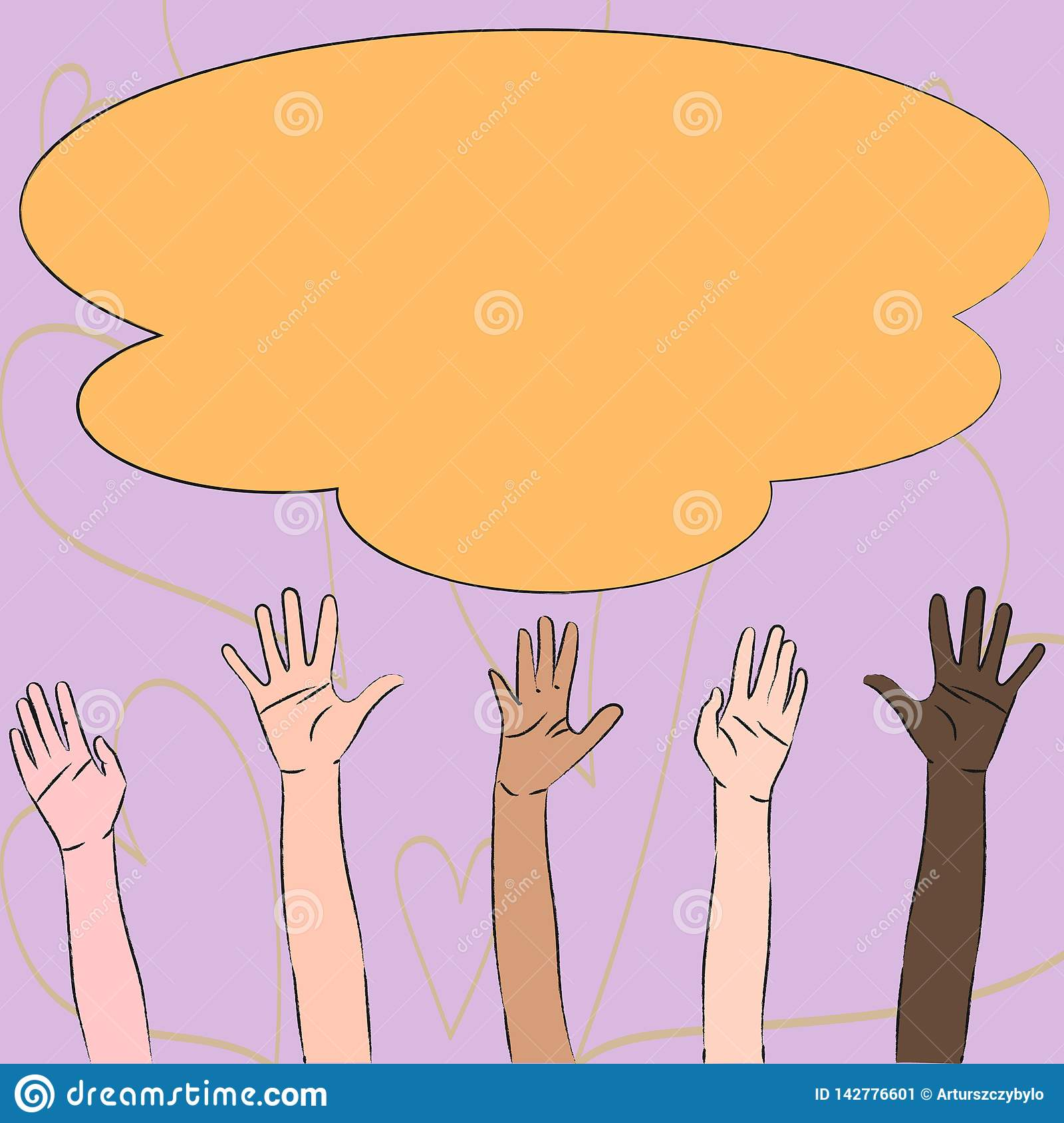 Illustration of Multiracial Diversity Hands Raising Up Reaching for Colorful Fluffy Big Cloud. Creative Background Idea