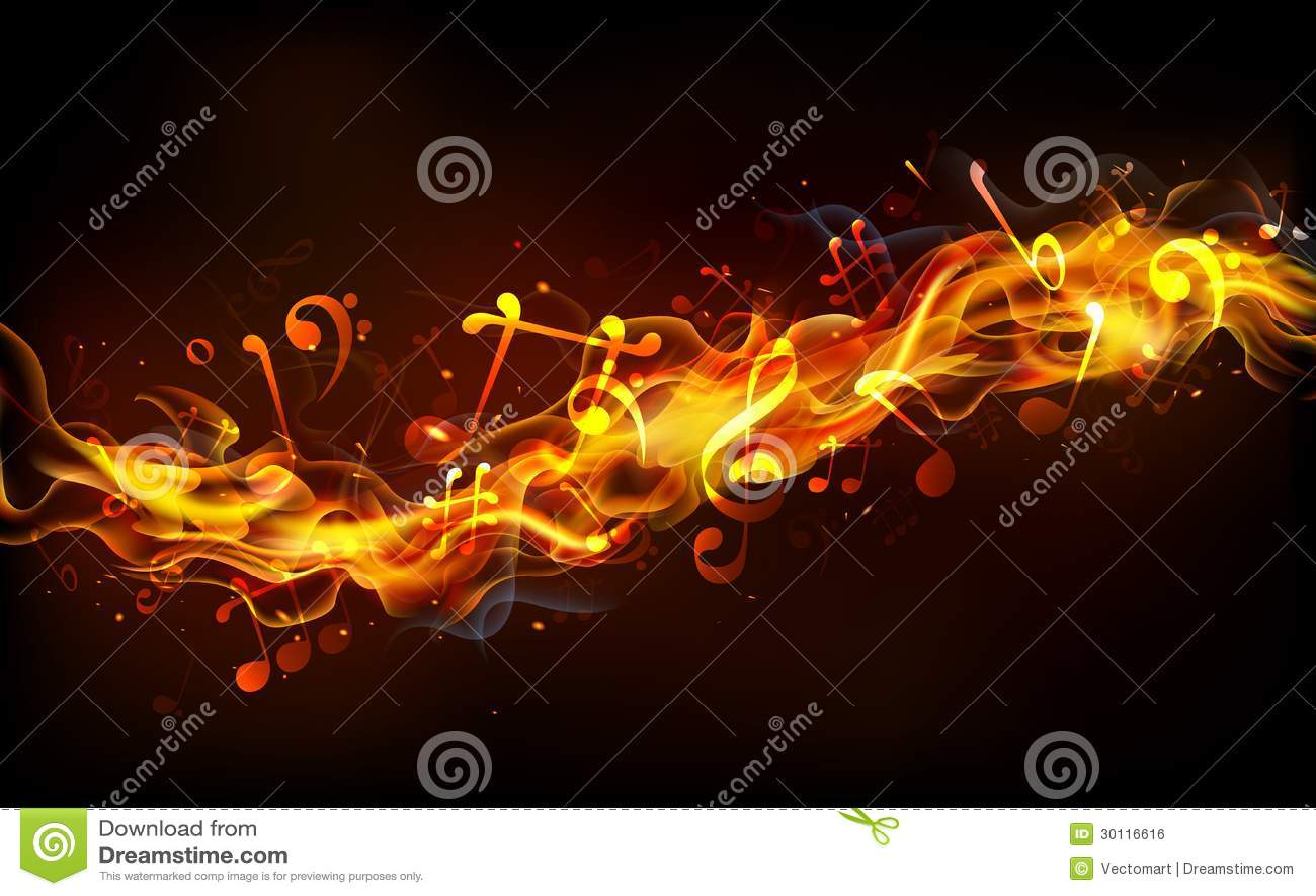Fiery Treble Clef In Rainbow Flames: Fiery Music Royalty Free Stock Image
