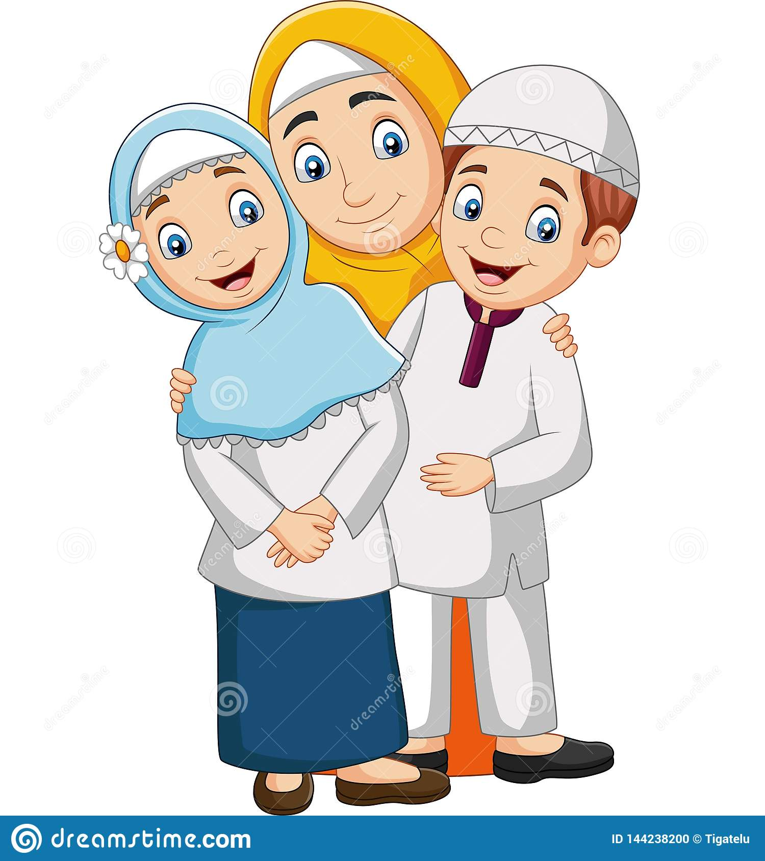Muslim mother with son and daughter