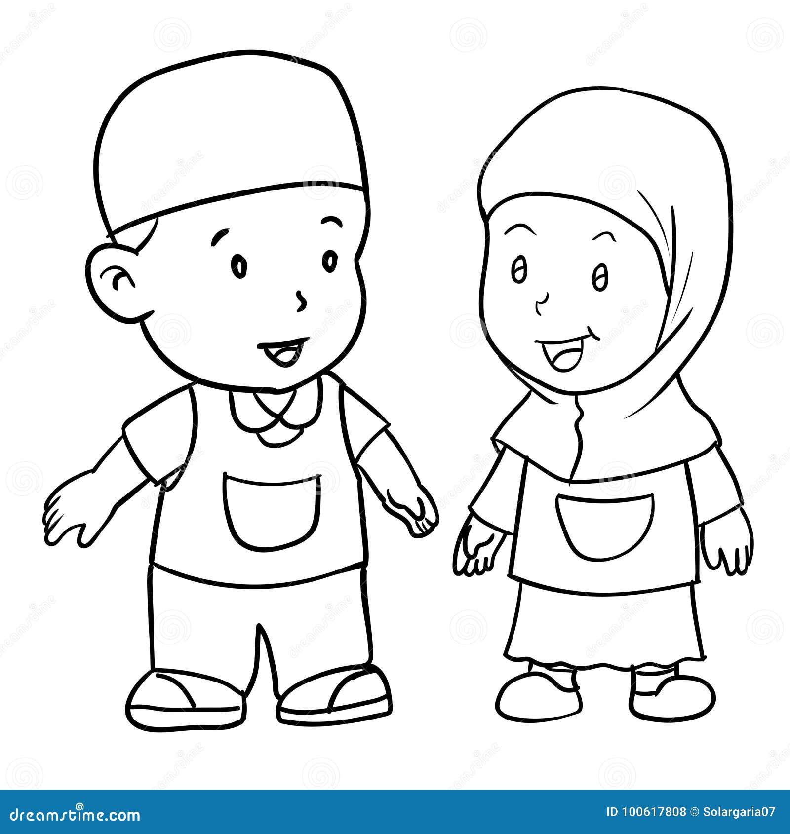 Illustration musulmane d 39 enfant vecteur de dessin de main - Dessin main enfant ...