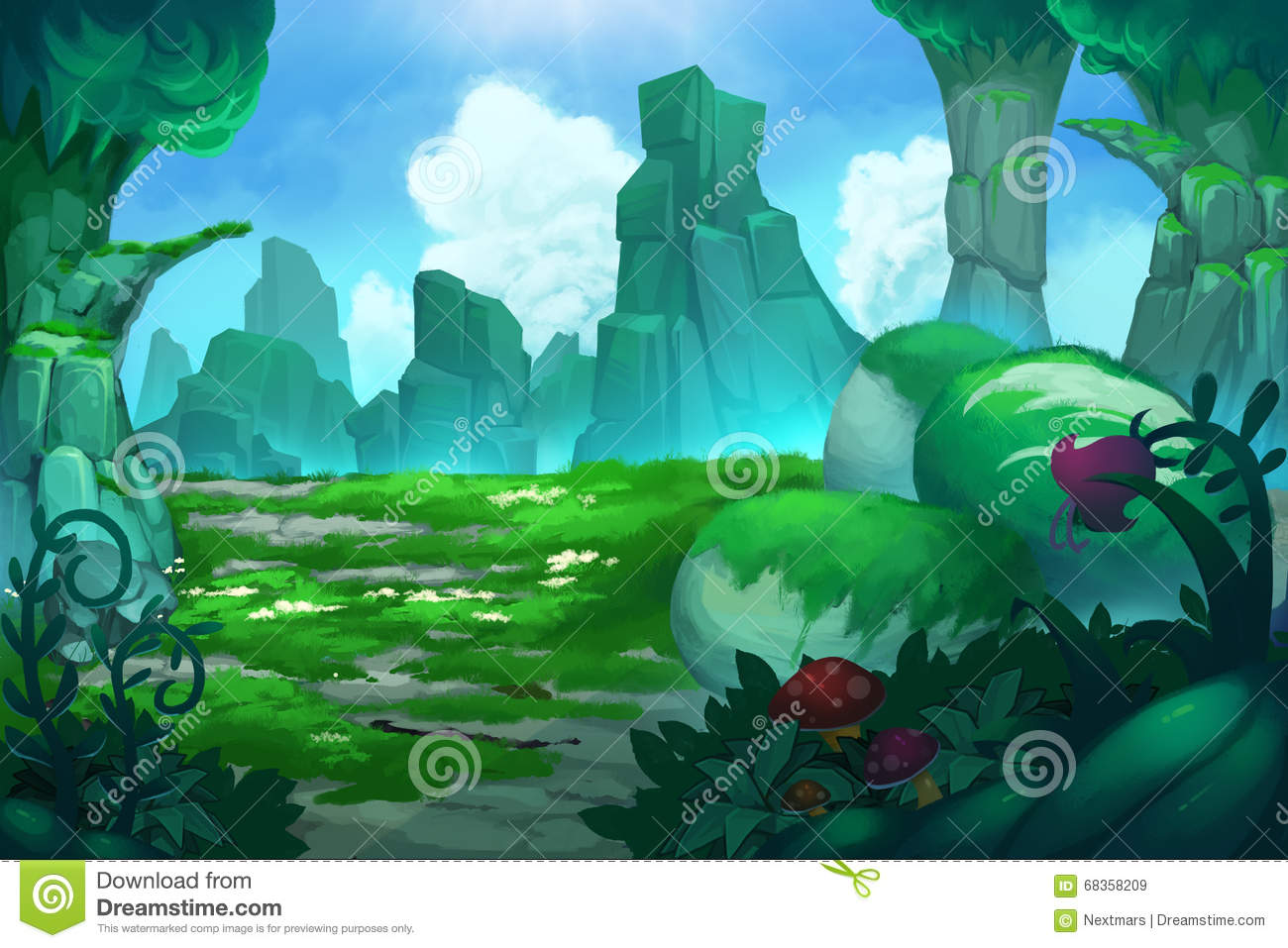 Good Wallpaper Mountain Cartoon - illustration-mysterious-mountain-valley-realistic-fantastic-cartoon-style-artwork-story-scene-wallpaper-background-card-design-68358209  Photograph_249369.jpg
