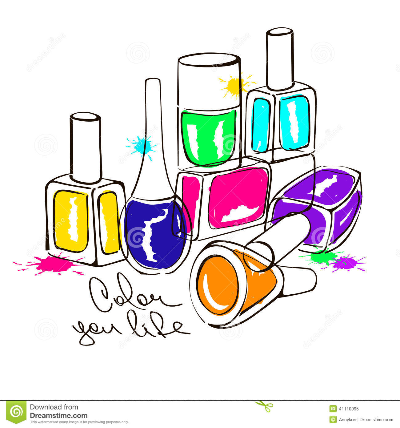 Illustration With Nail Polish Bottles Stock Vector - Image: 41110095 Nail Polish Bottles Clipart