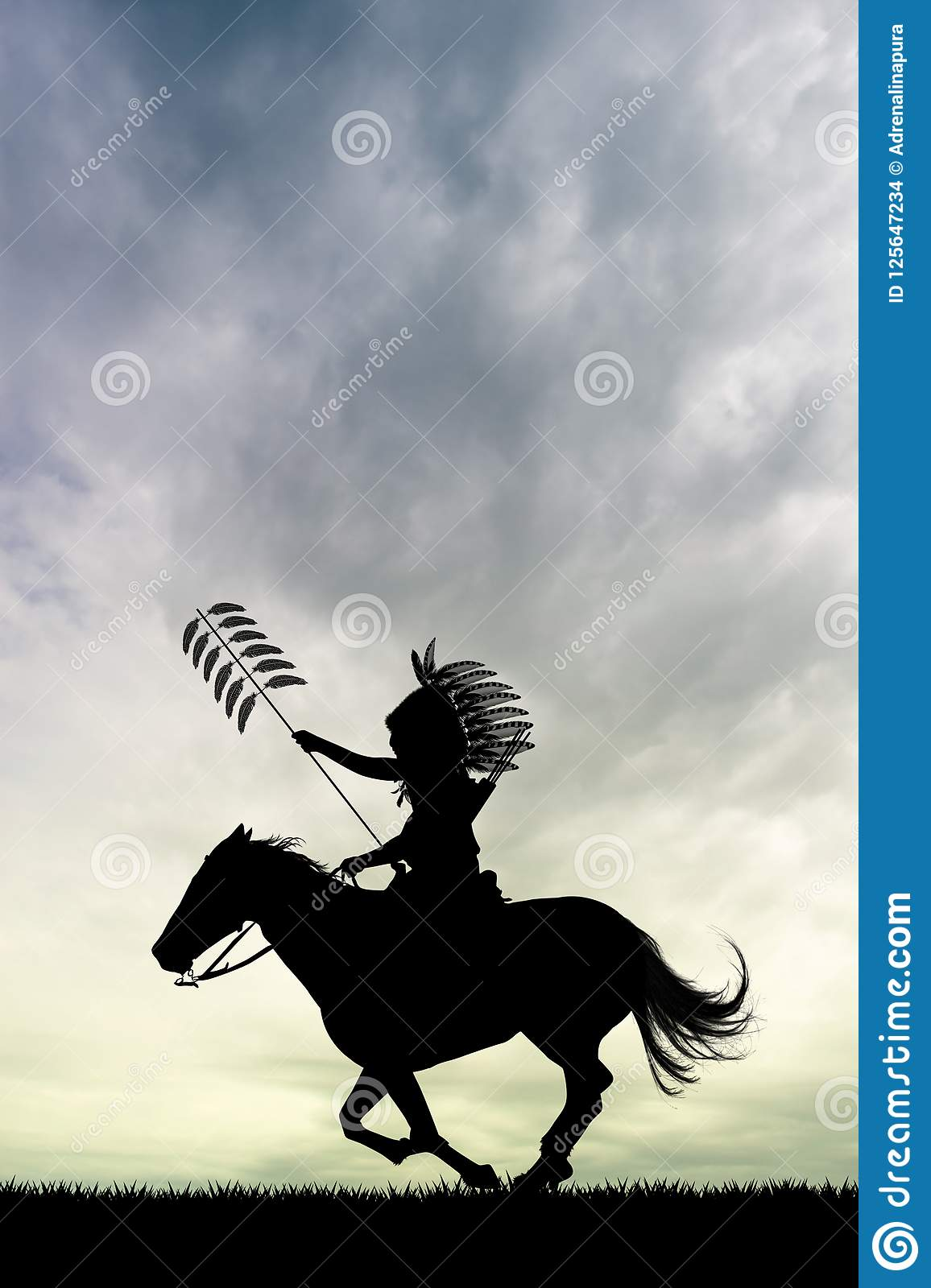 Native American Indian On Horse Stock Illustration Illustration Of Camp Tribal 125647234