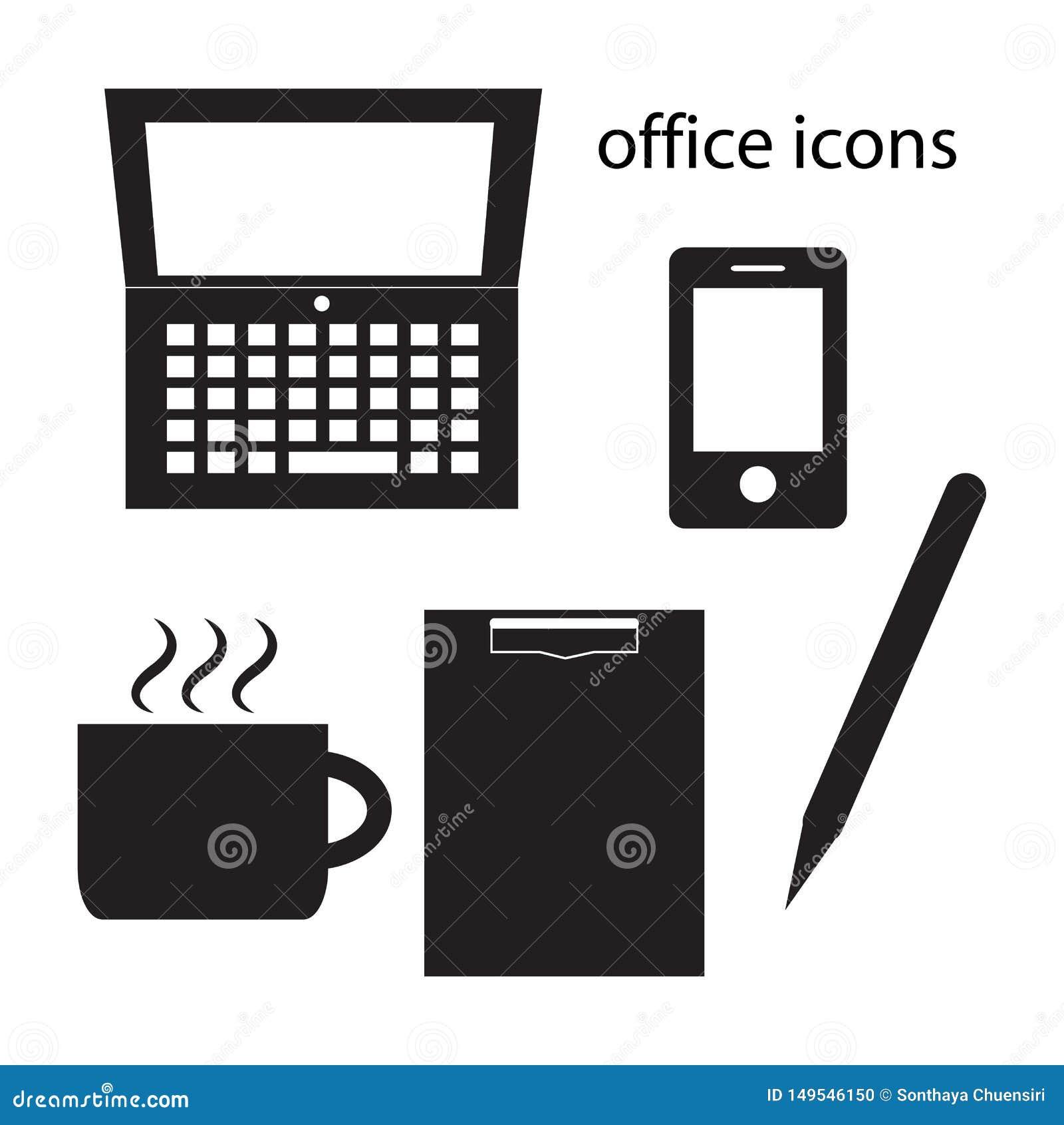 Illustration noire de vecteur d ensemble d icônes de bureau