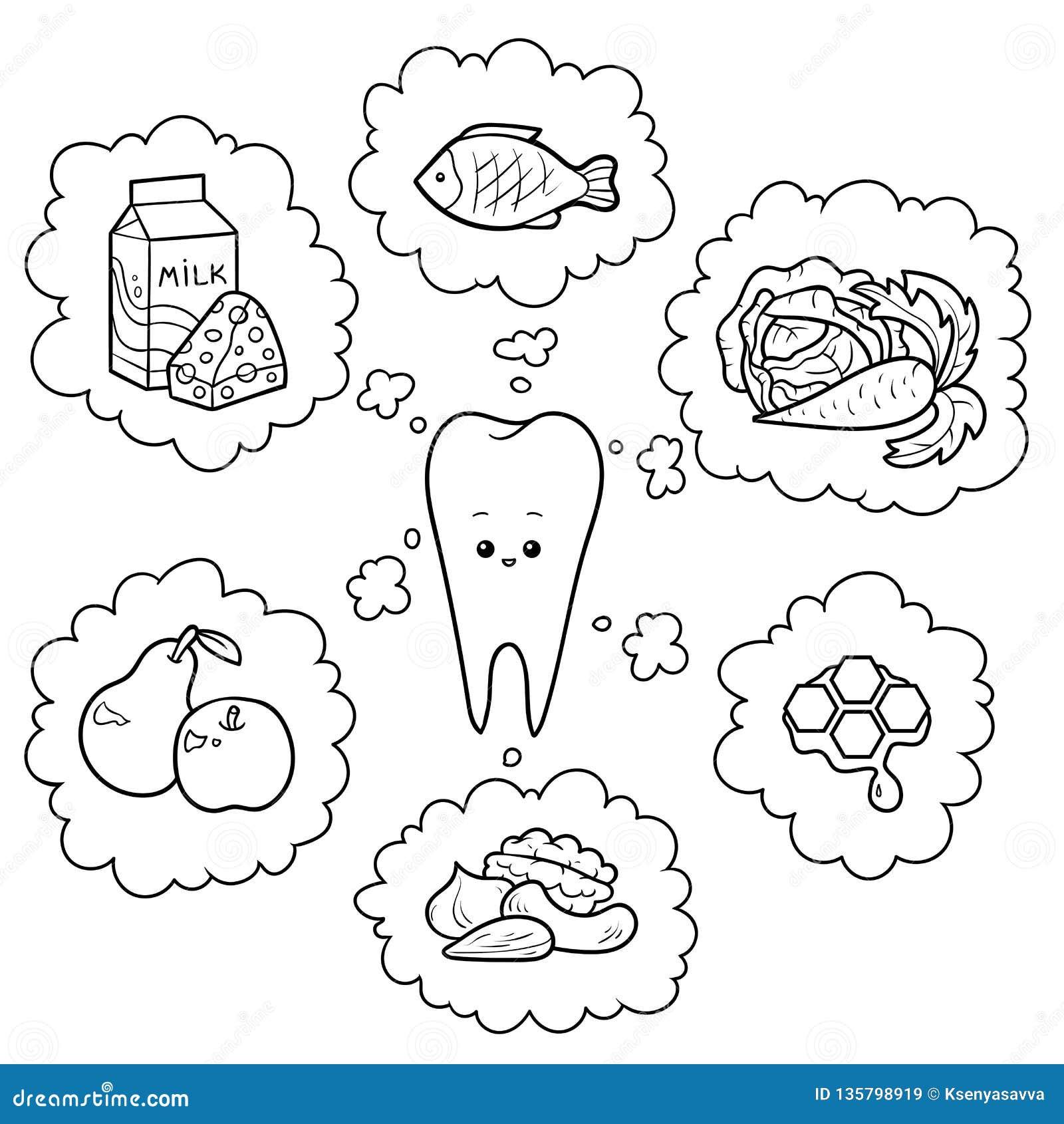 Illustration noire et blanche de bande dessinée Bonne nourriture pour des dents