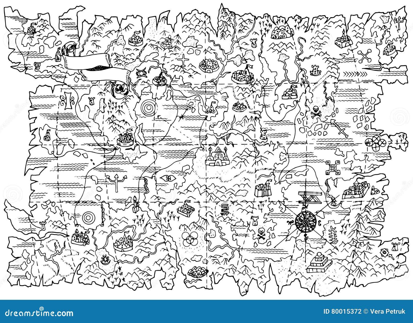 Carte Au Tresor Noir Et Blanc.Illustration Noire Et Blanche De Carte De Pirate De Terre D