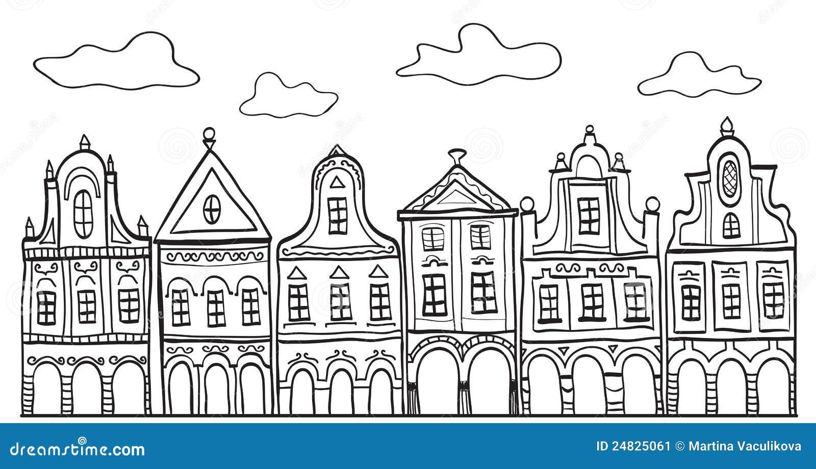 Line Art Village : Illustration of old decorated village houses stock vector