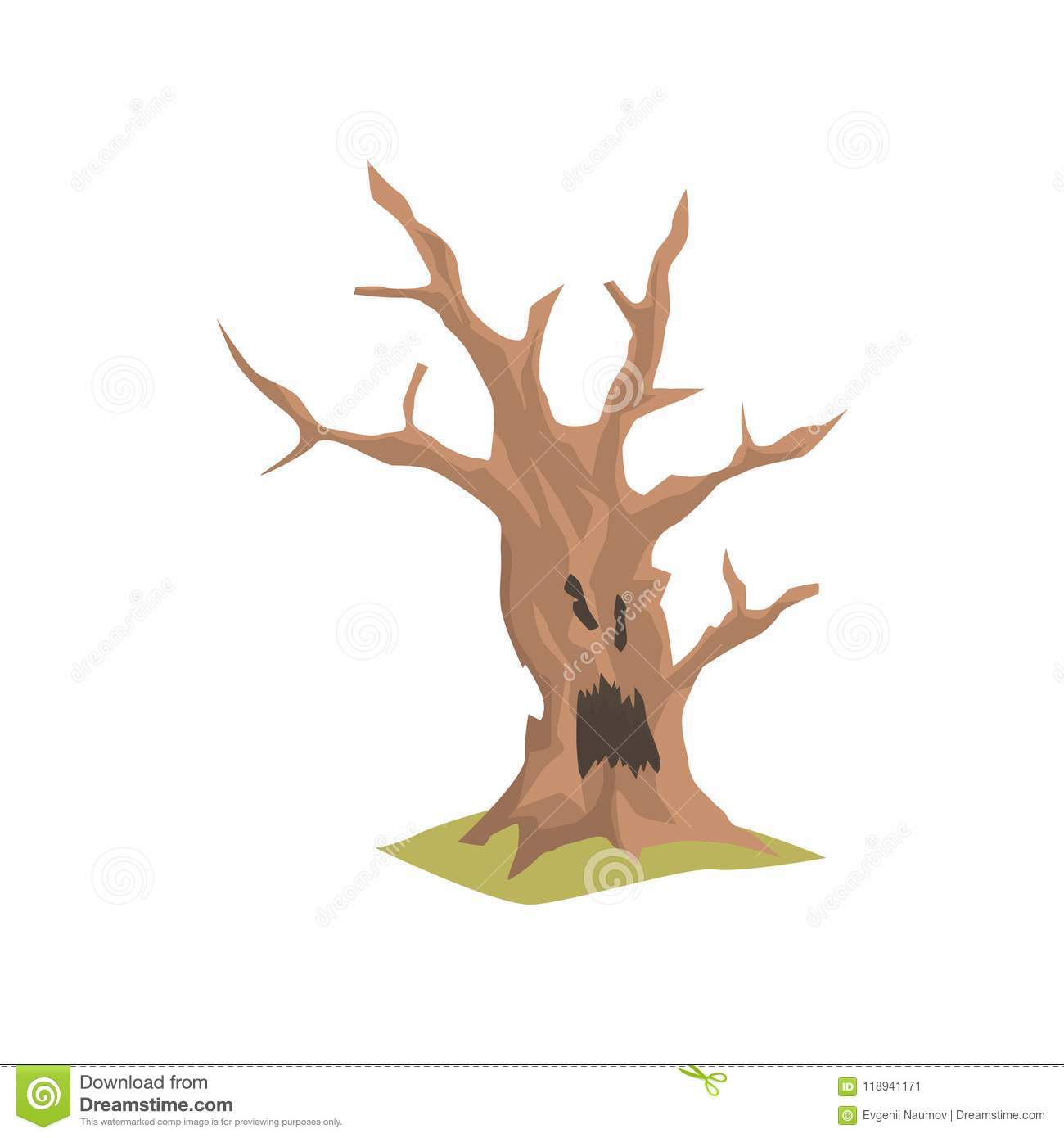 Old Dry Tree With Scary Face  Natural Element For Forest Or Park