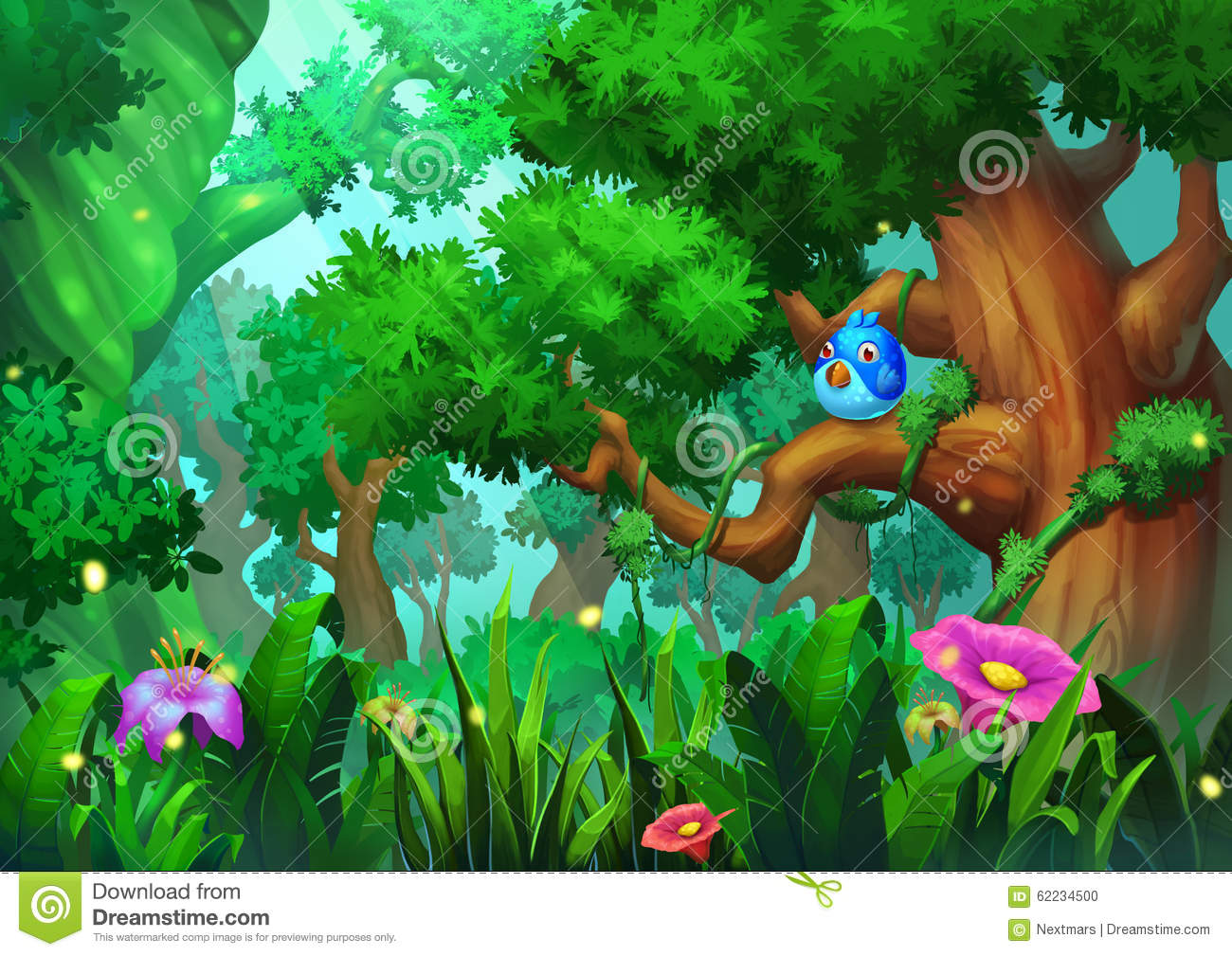 Illustration: The Old-Growth Forest With Green Trees ...