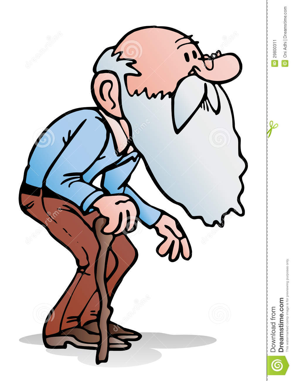 Illustration of an old man holding a cane on isolated white background ... Old Man Walking Cartoon