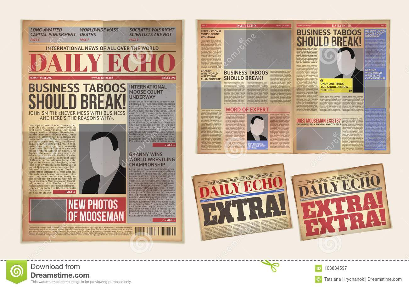 Old Daily Newspaper Template Tabloid Layout Posting Reportage