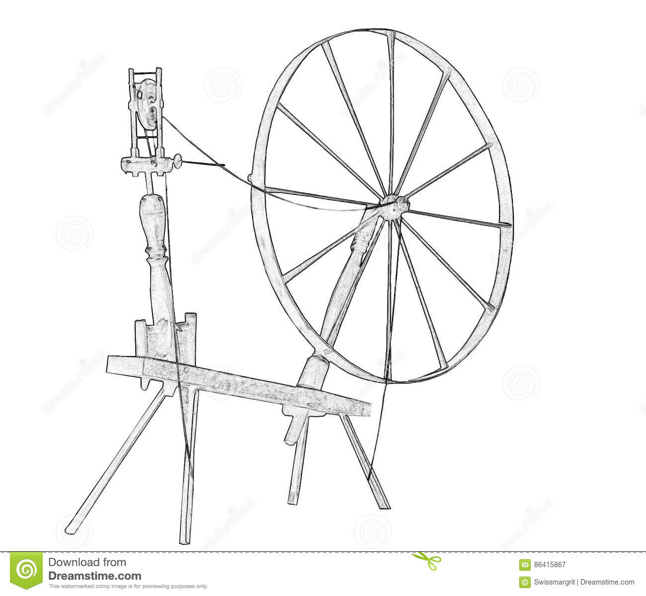 illustration of old spinning wheel stock illustration illustration rh dreamstime com Spinning Wheel Labeled Parts of a Spinning Wheel