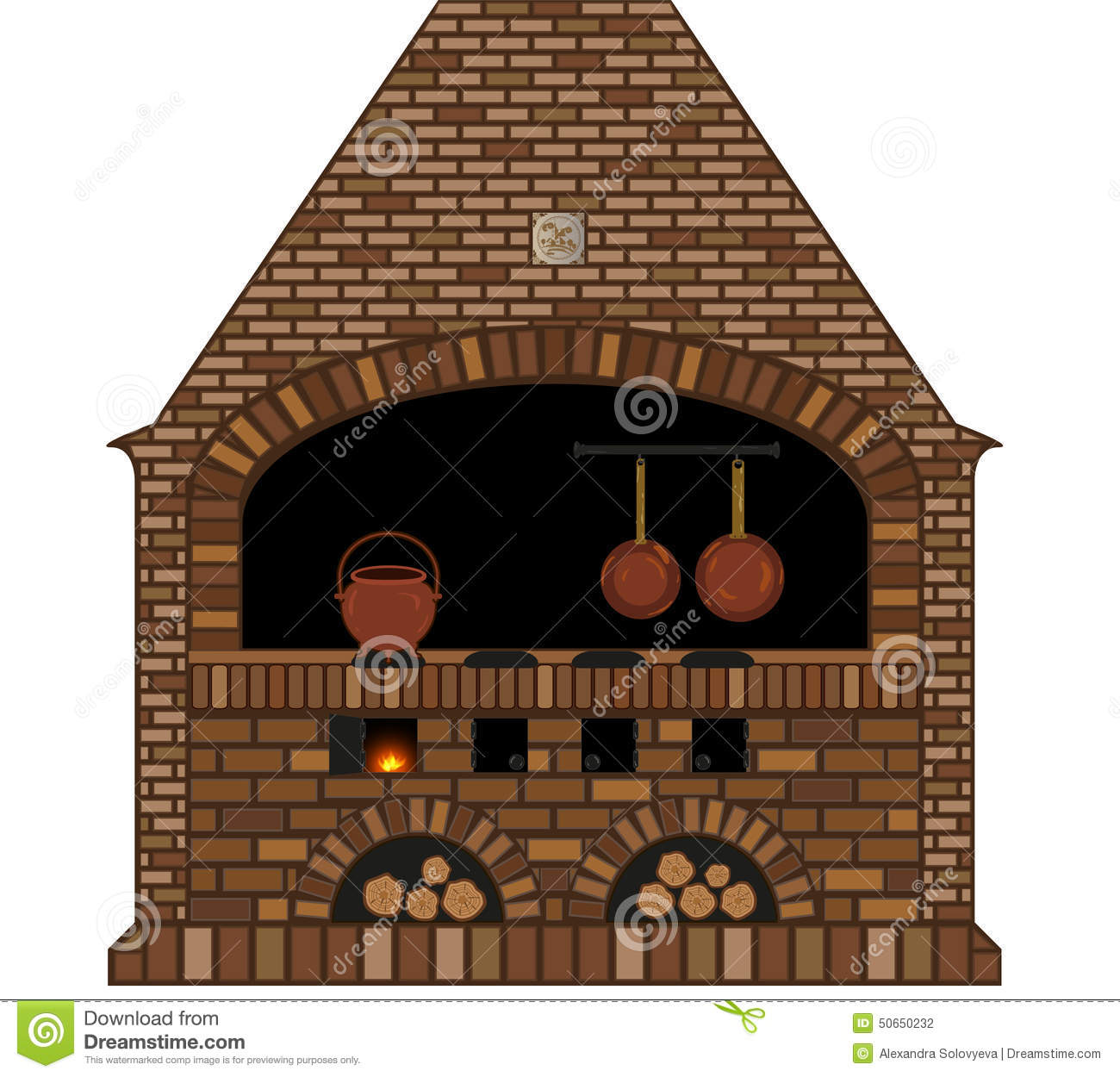 Illustration Of An Old Traditional Kitchen Fireplace Stove