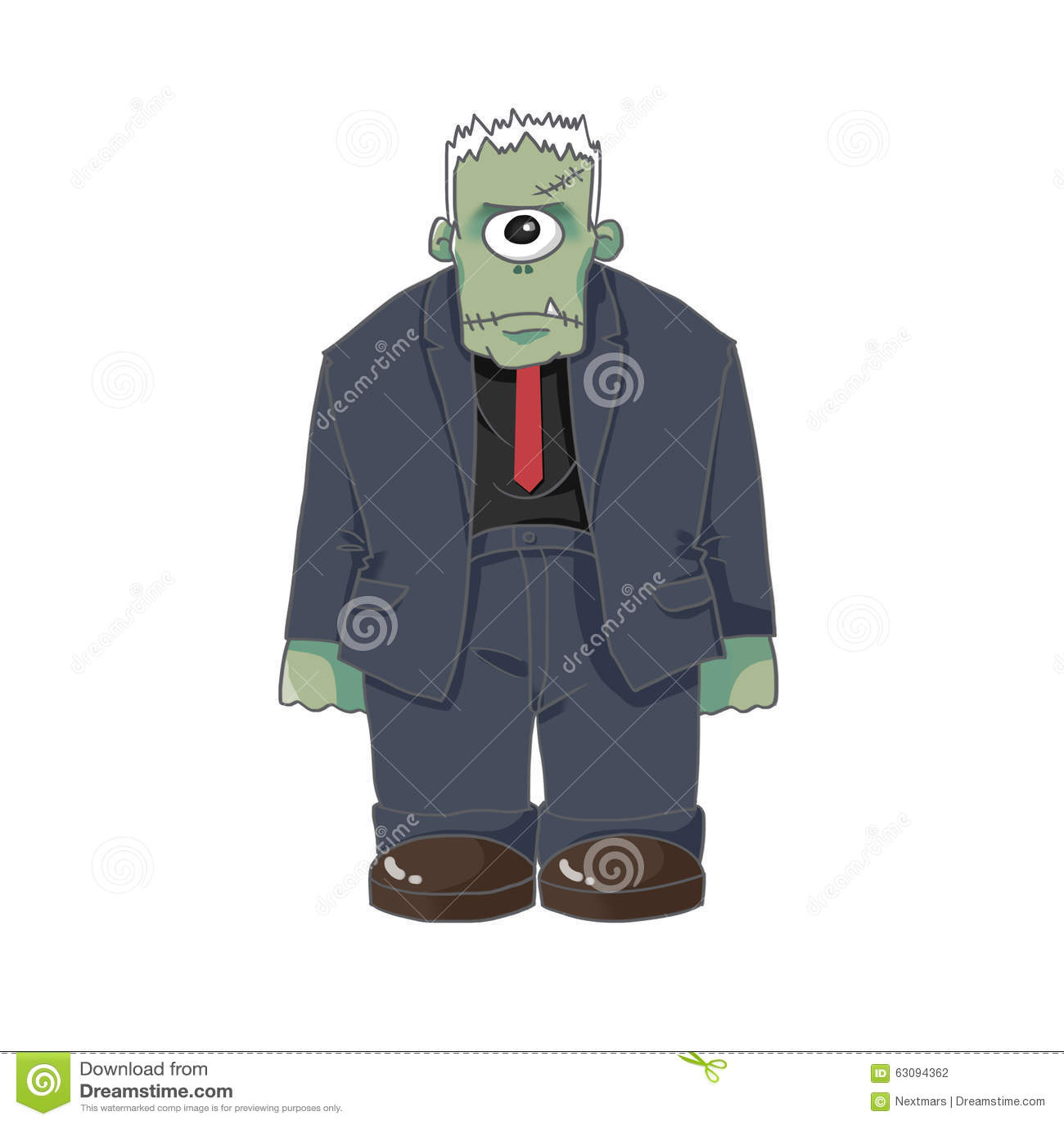 1 Eyed Cartoon Characters : Illustration the one eyed monster killer on white