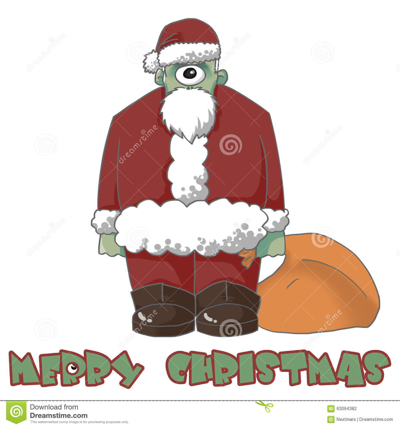 1 Eyed Cartoon Characters : Illustration the one eyed santa comes to wish you merry
