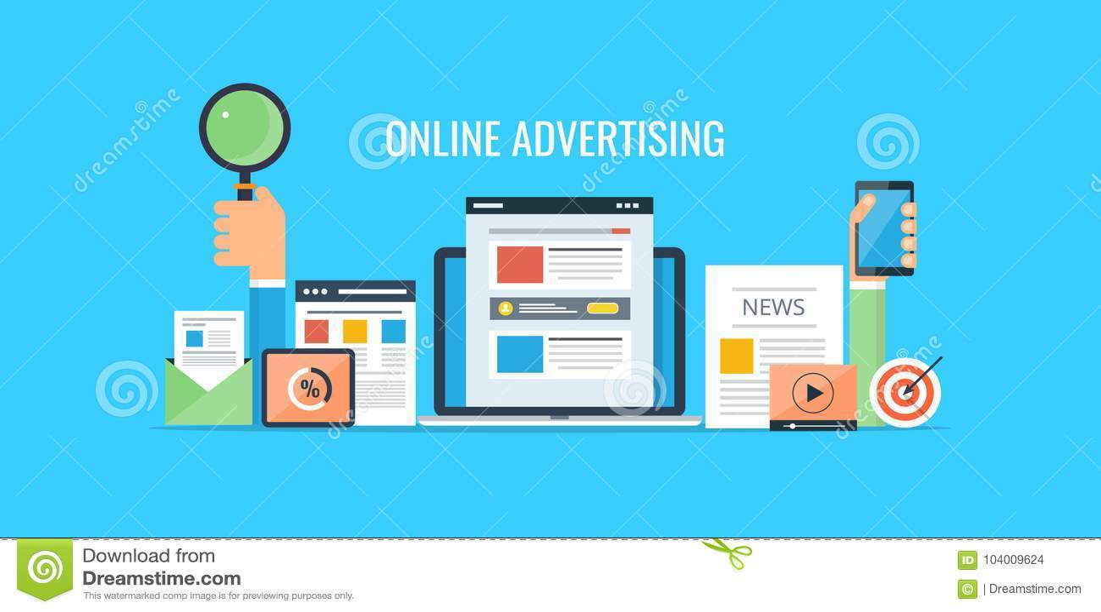 Advertising online - website marketing - commercial selling. Flat design advertising banner.