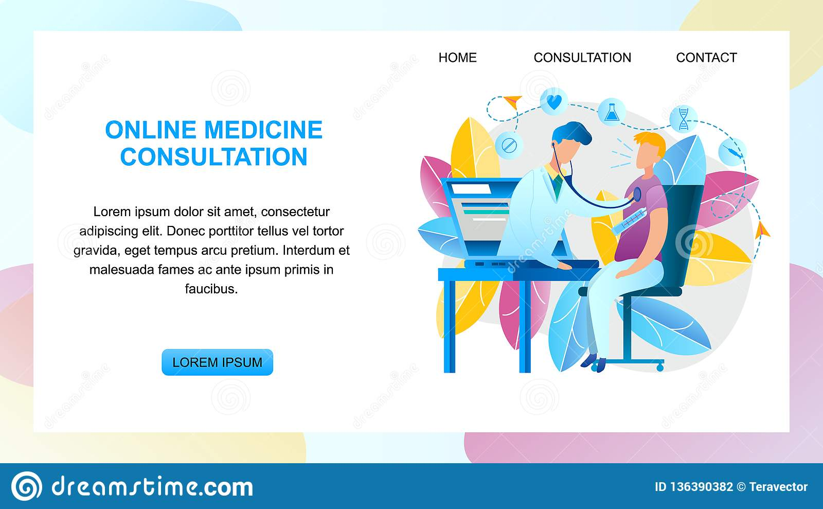 Illustration Online Medicine Consultation Doctor Stock