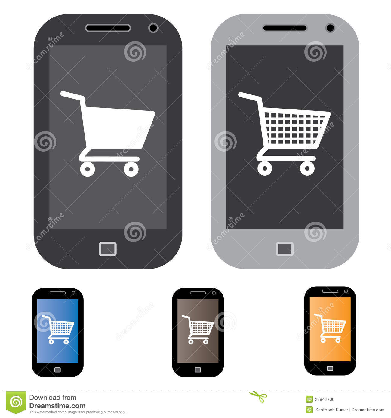 illustration of online shopping using mobile cell phone. Black Bedroom Furniture Sets. Home Design Ideas