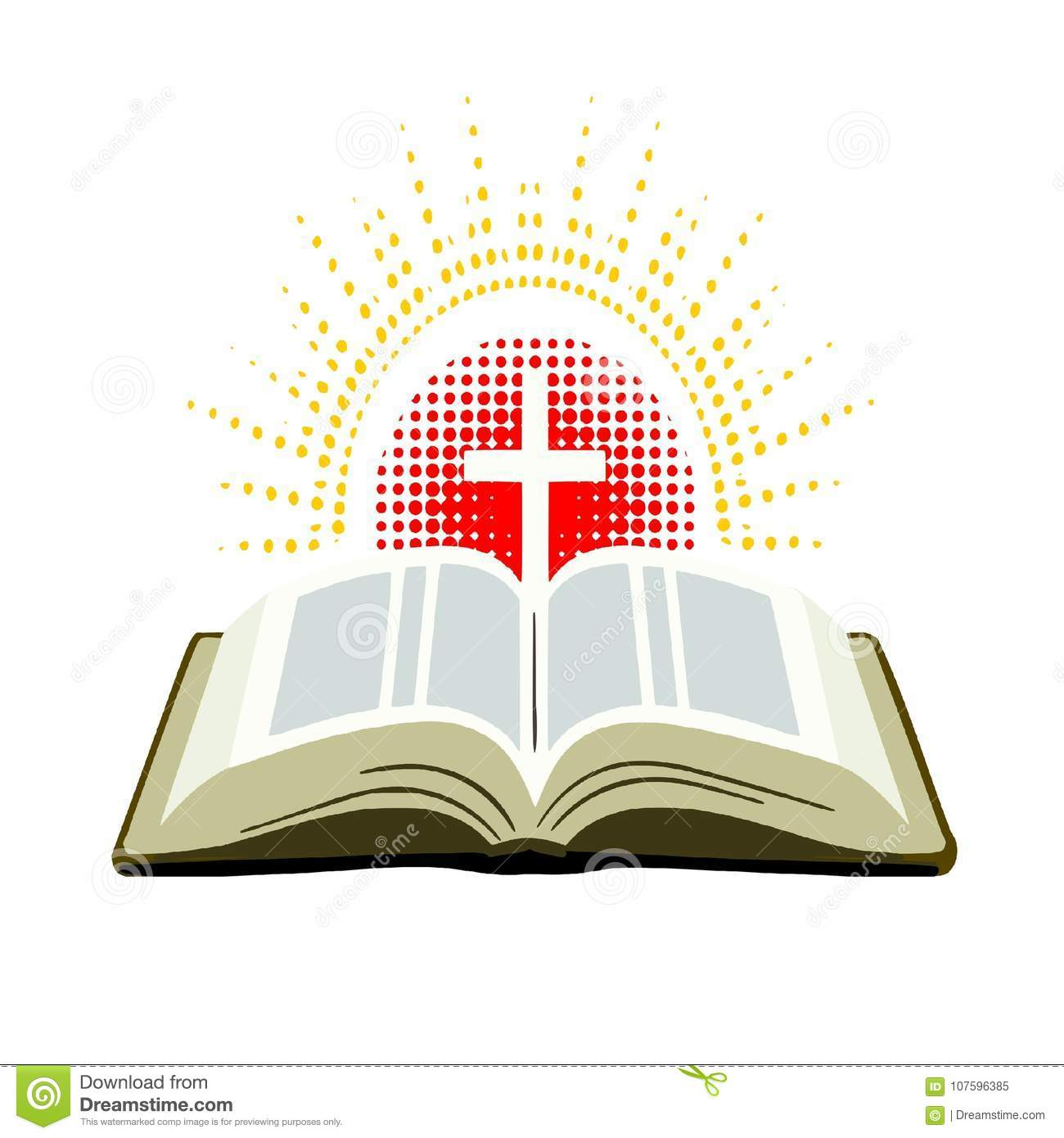 Open Bible With Cross And Rays Of Light Stock Illustration