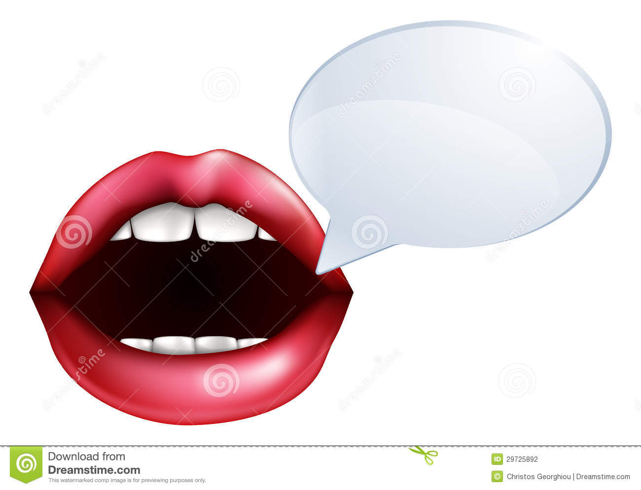An illustration of open mouth or lips talking with a speech bubble for